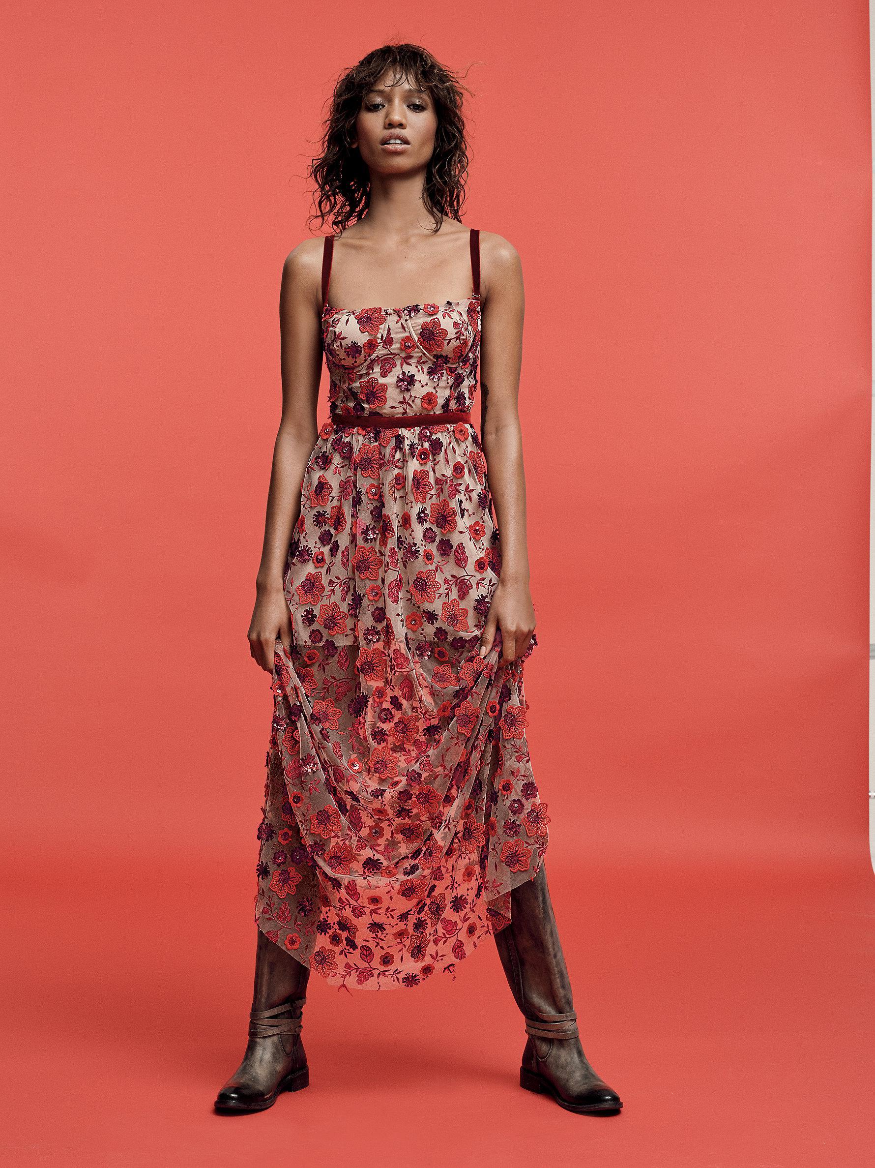 17e774e8239e Free People Beatrice Strappy Maxi Dress in Red - Lyst