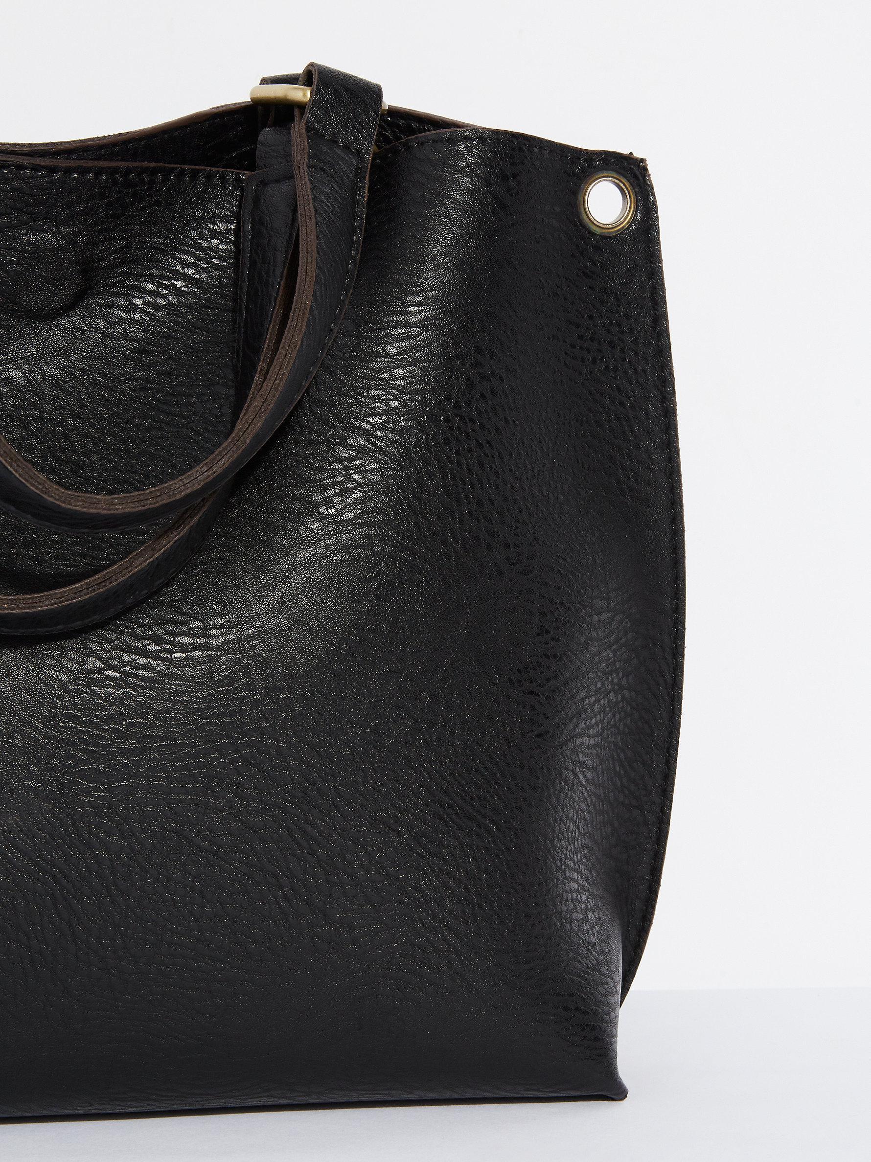 Free People Leather Reversible Vegan Crossbody in Black / Black (Black)