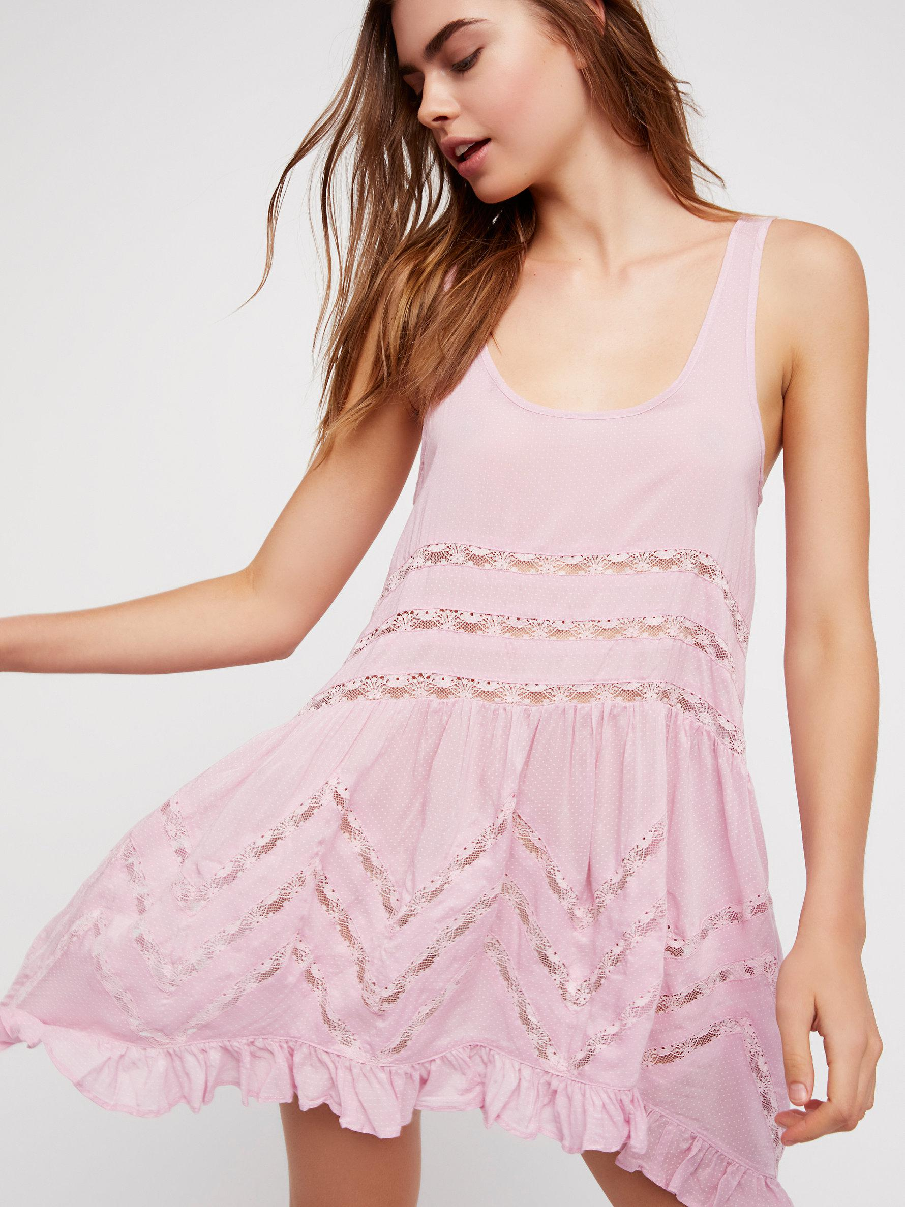 62a266ec2237 Free People Voile And Lace Trapeze Slip in Pink - Lyst