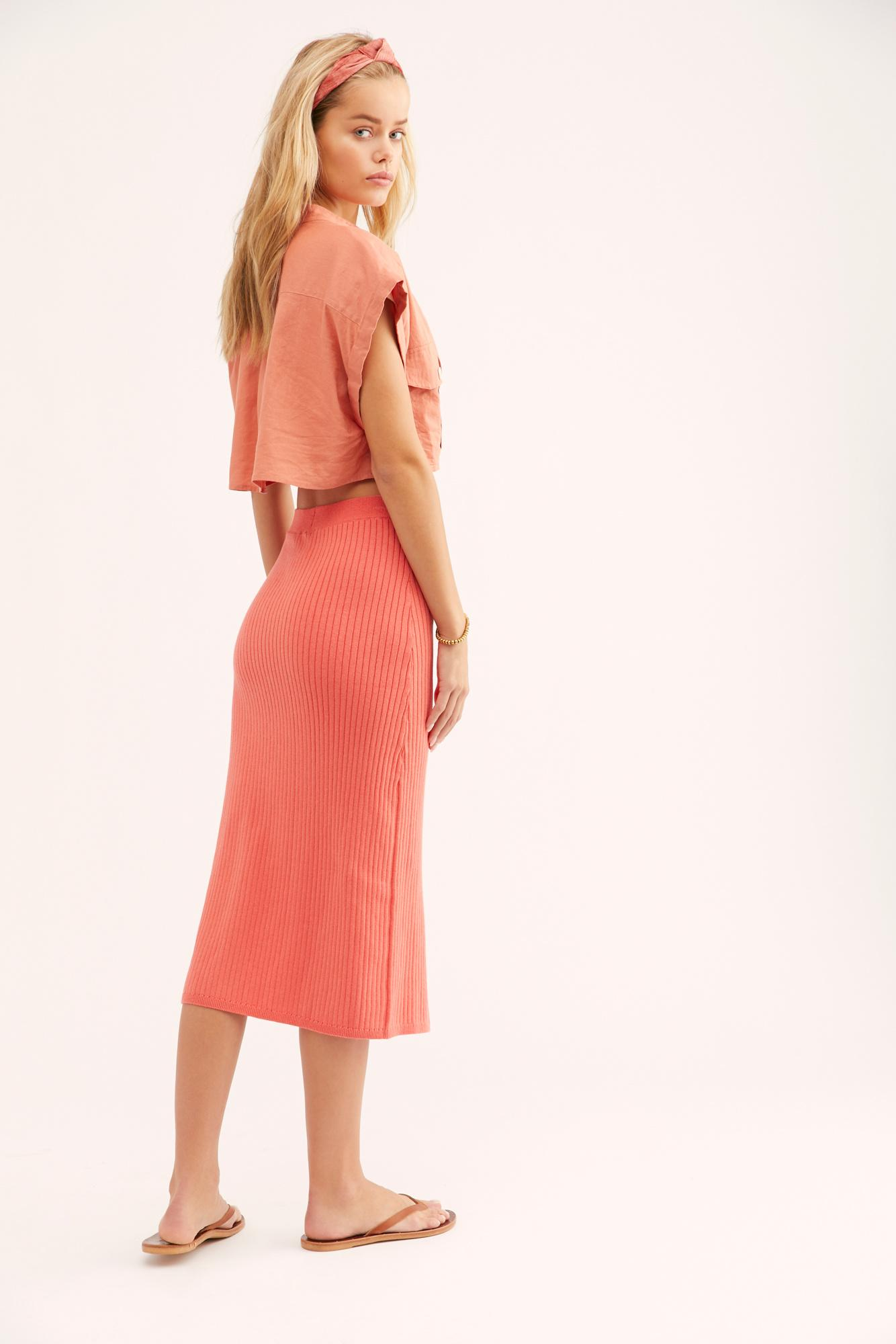 6a0aace5c54b9 Free People - Pink Skyline Midi Skirt - Lyst. View fullscreen