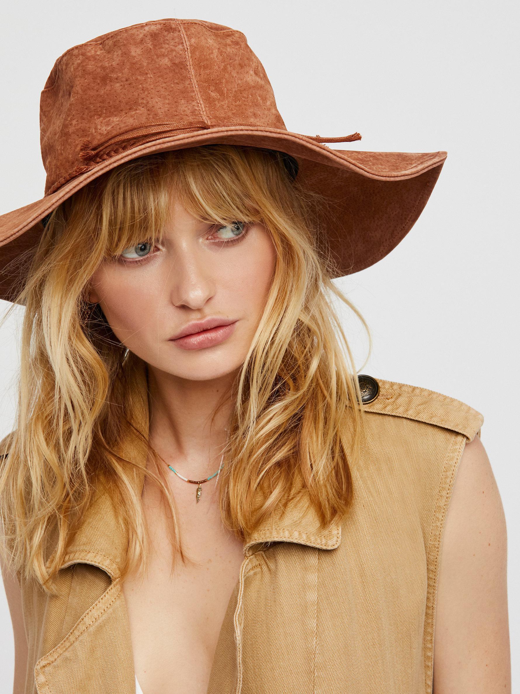 Free People Woodstock Suede Floppy Hat in Brown - Lyst 61d3a601d39