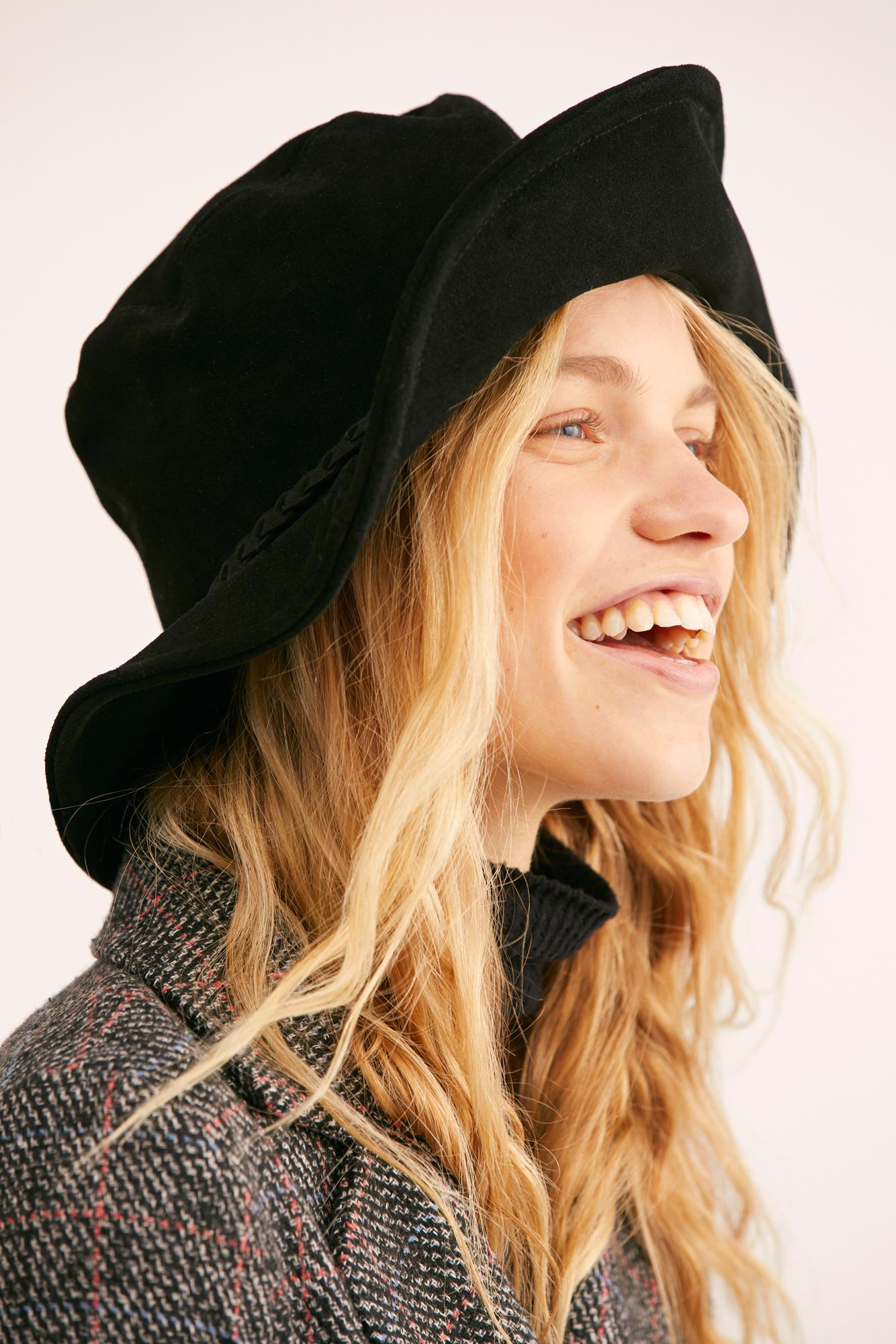 Free People Floppy Hat black Tennessee Suede Braided Bucket Hat One Size NEW