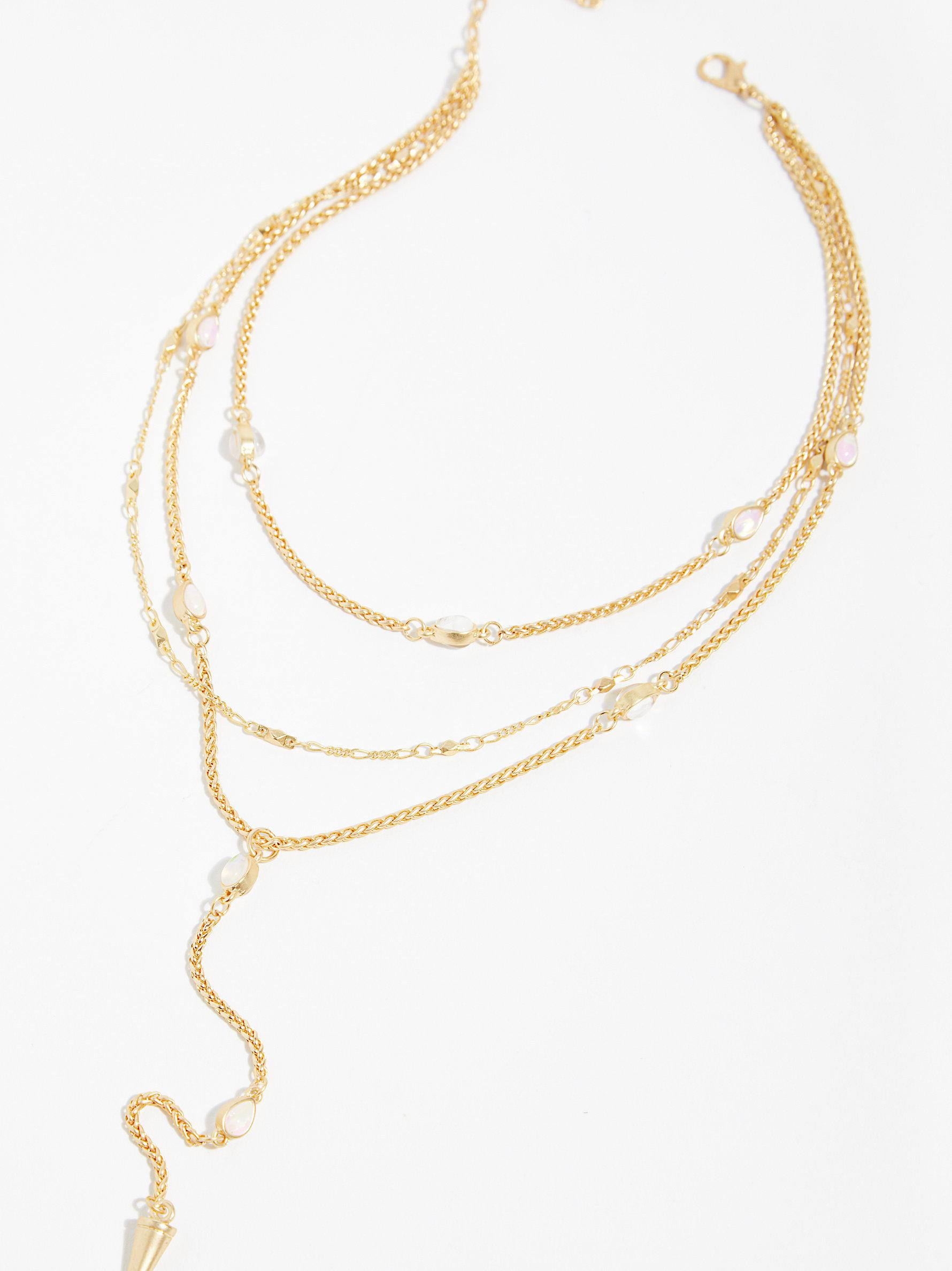 Free People Pretty Lover Delicate Bolo Necklace in Gold / Ivory (Metallic)