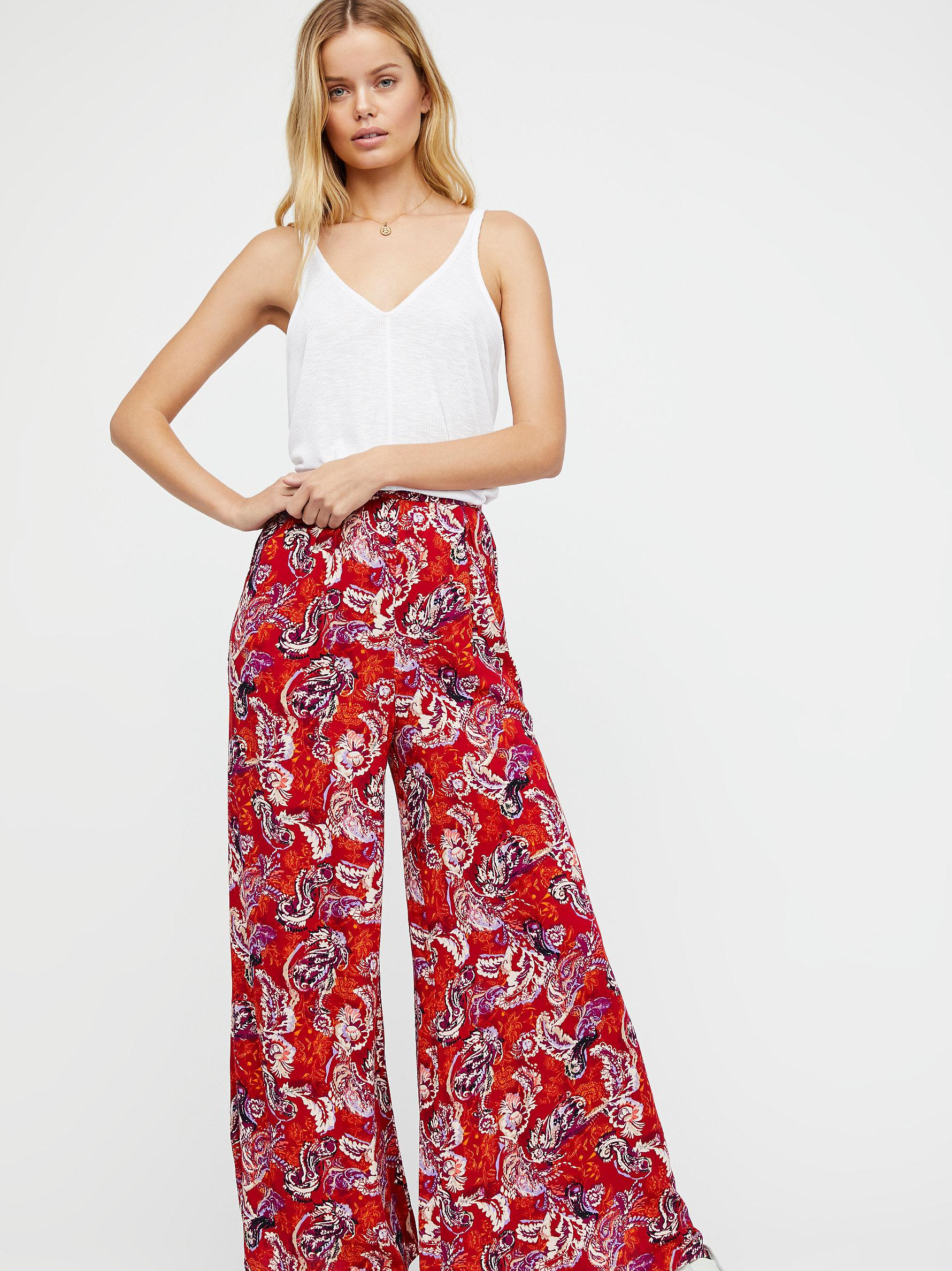 00a134088784 Lyst - Free People Late Night Sleep Pant in Red