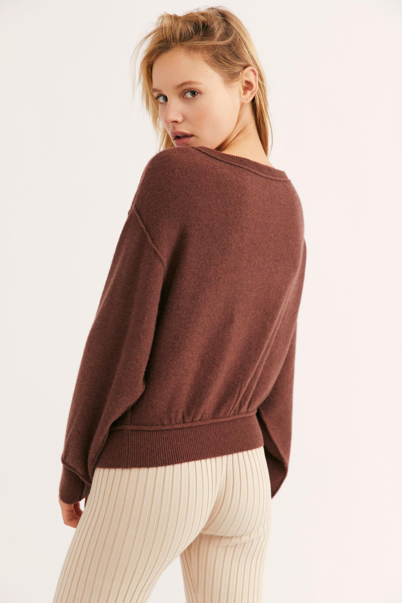 be5396e33e7 Lyst - Free People Love Like This Cashmere Pullover in Brown