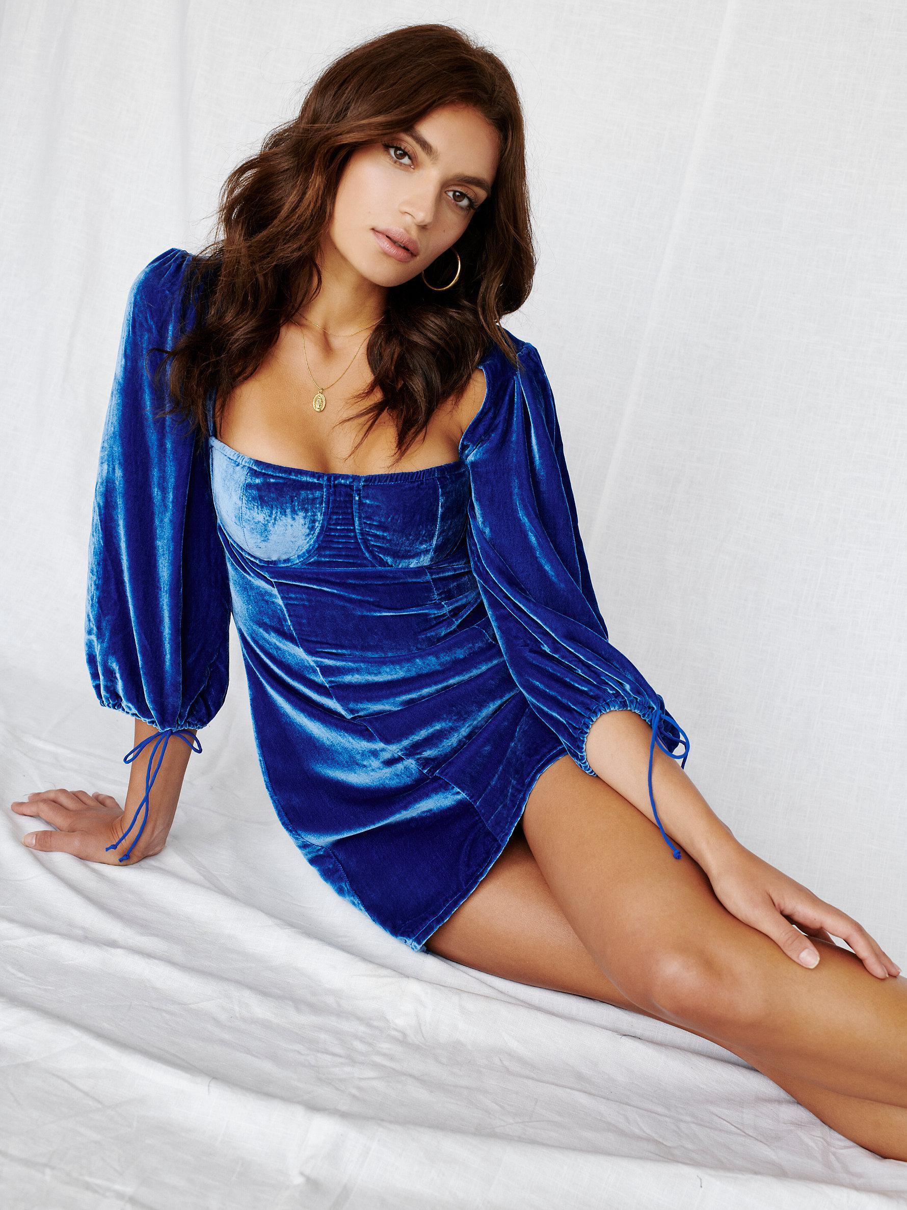 c2e5f054fd1 Free People Blue Nadine Velvet Bustier Mini Dress