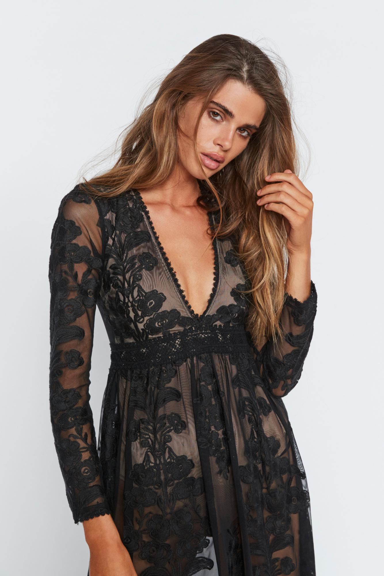 9933f3a0e4b6 Free People Temecula Maxi Dress By For Love & Lemons in Black - Lyst