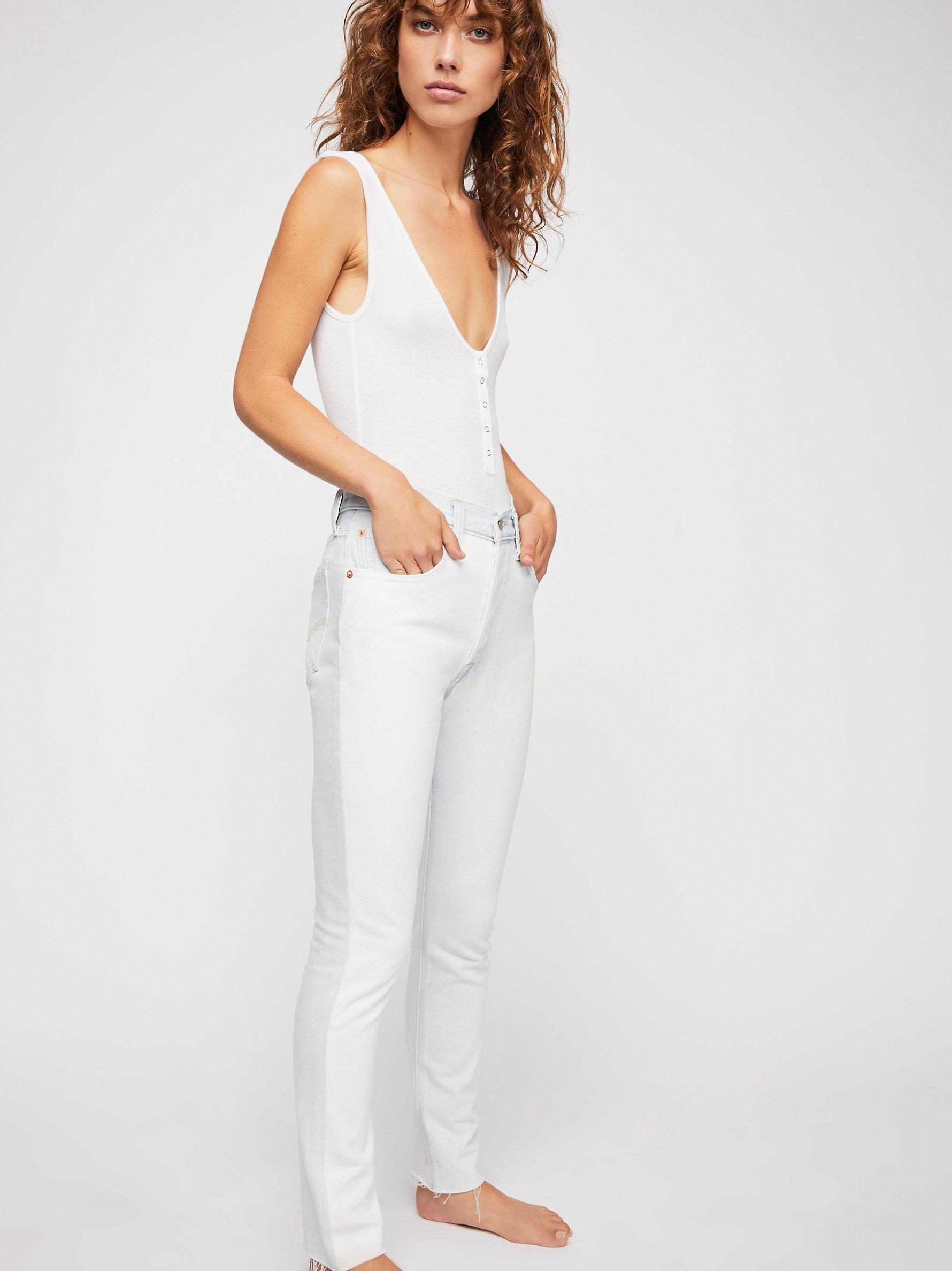 Free People Denim 501 Skinny Jeans in White