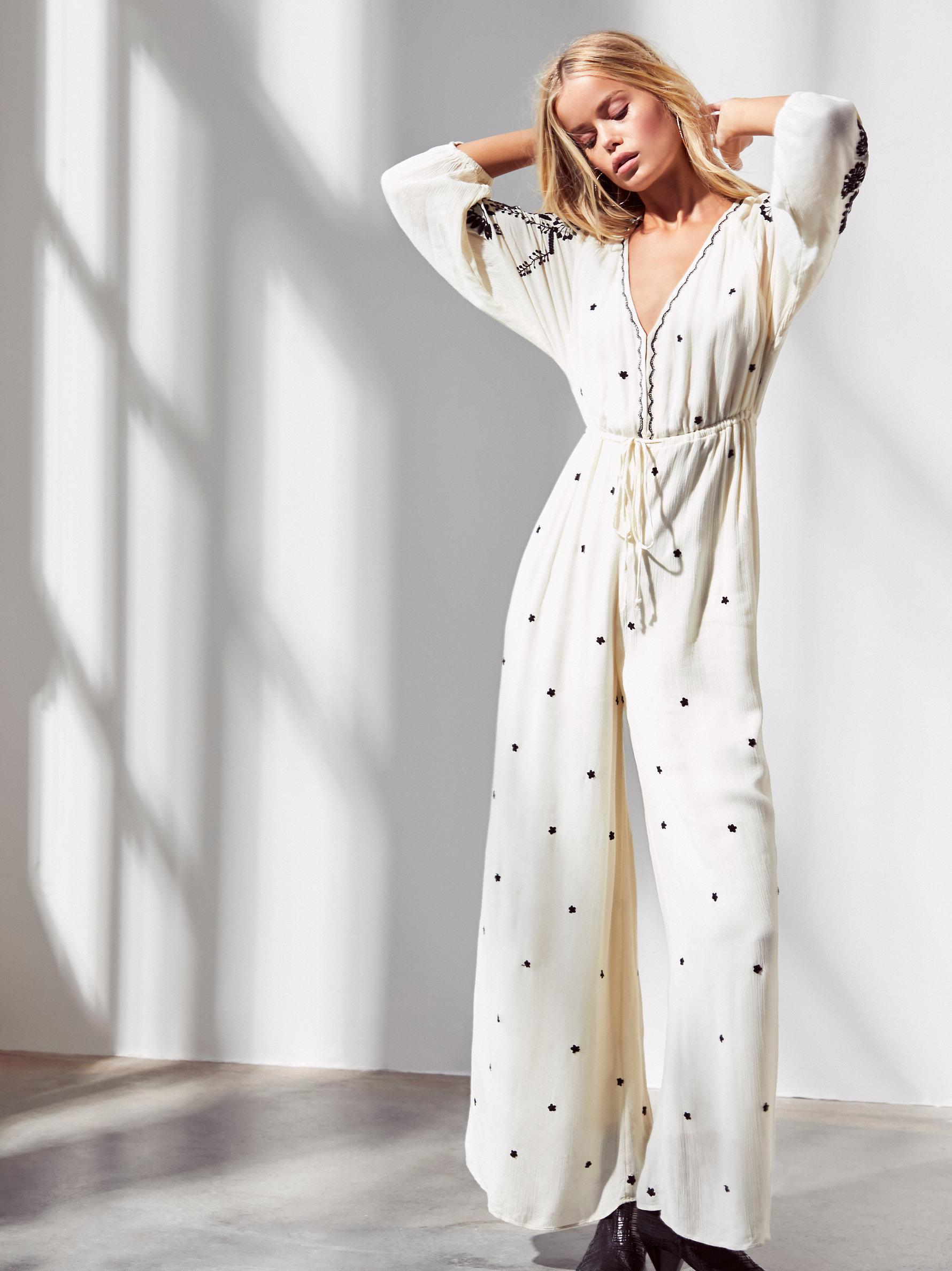 b86ff3d96195 Lyst - Free People Embroidered V Jumpsuit