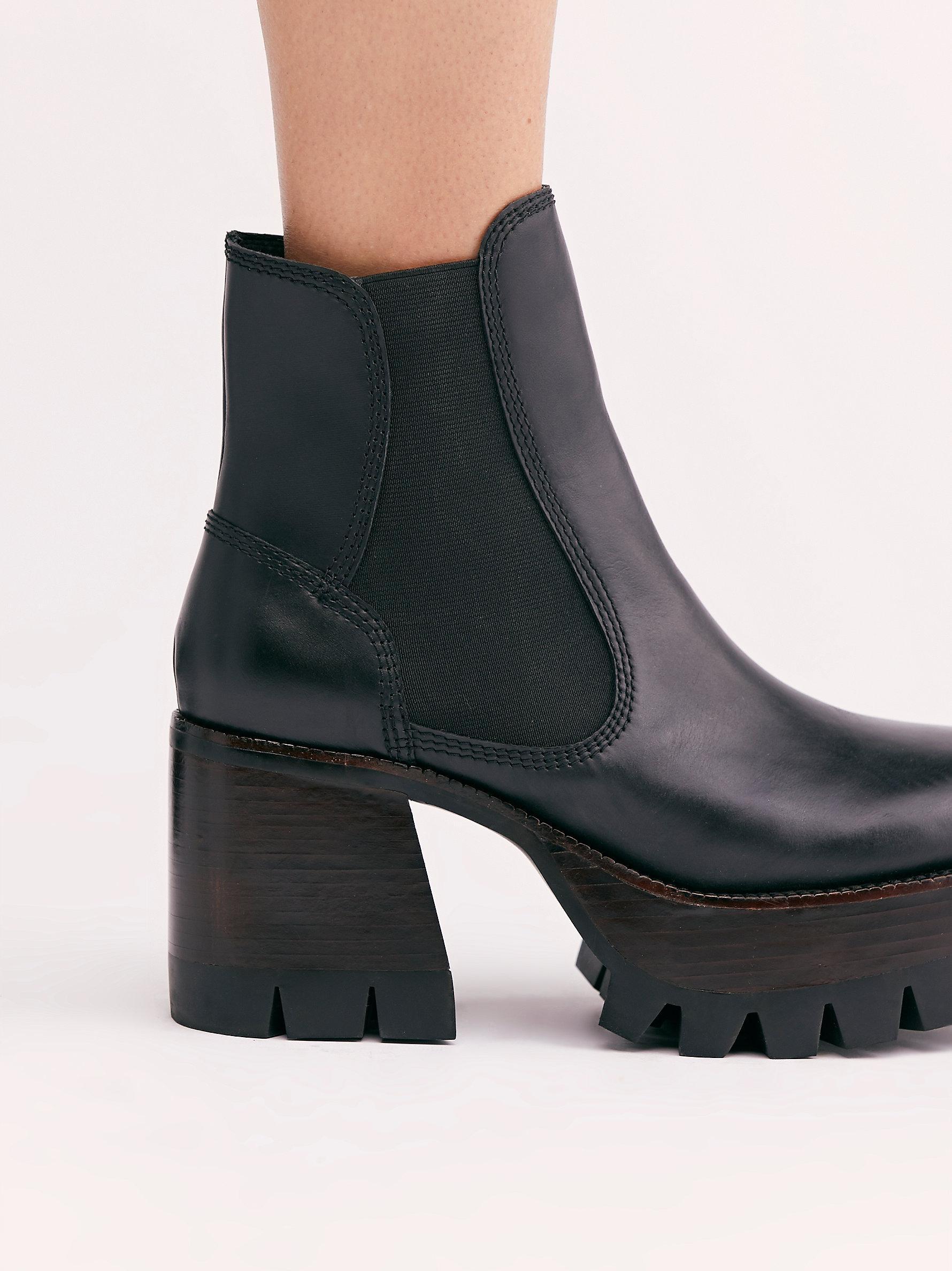 Preston Platform Ankle Boots in Black