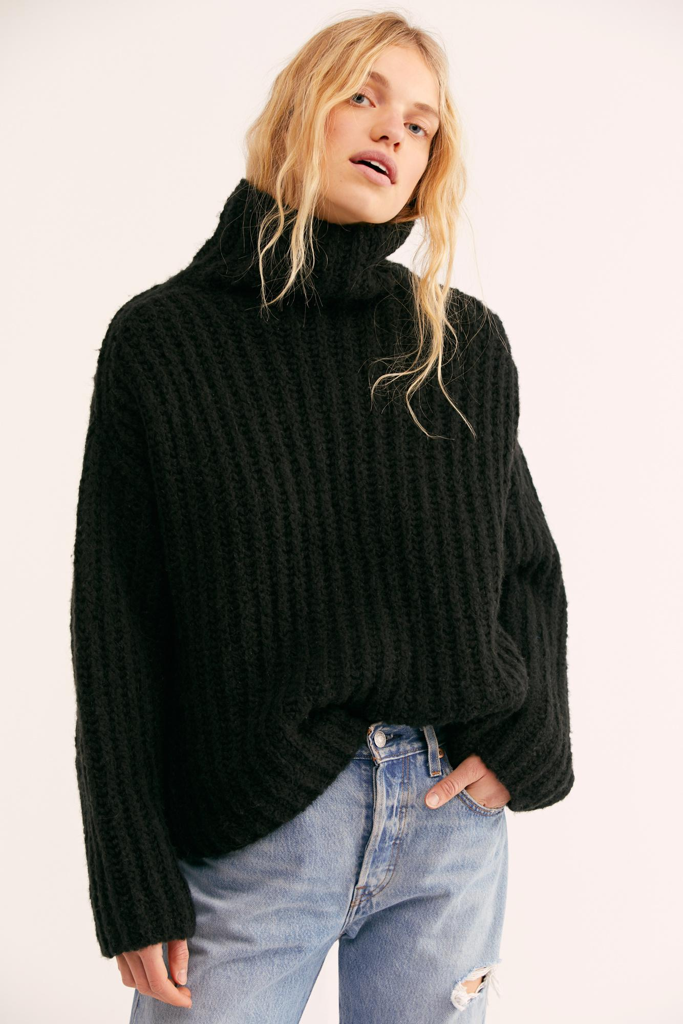 6506cf67544510 Lyst - Free People Fluffy Fox Sweater in Black