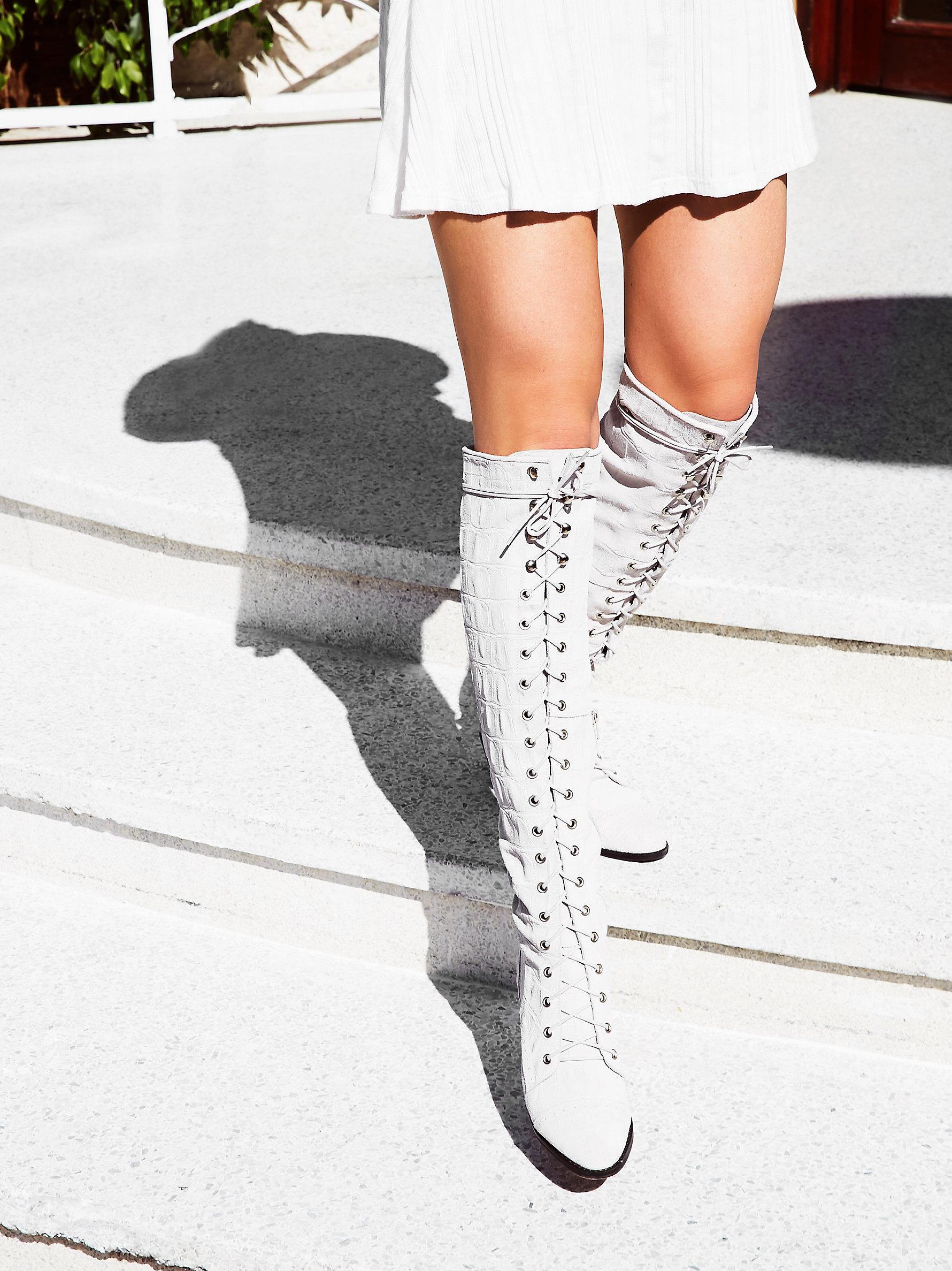 Joe Lace Up Boot in White Croc Suede