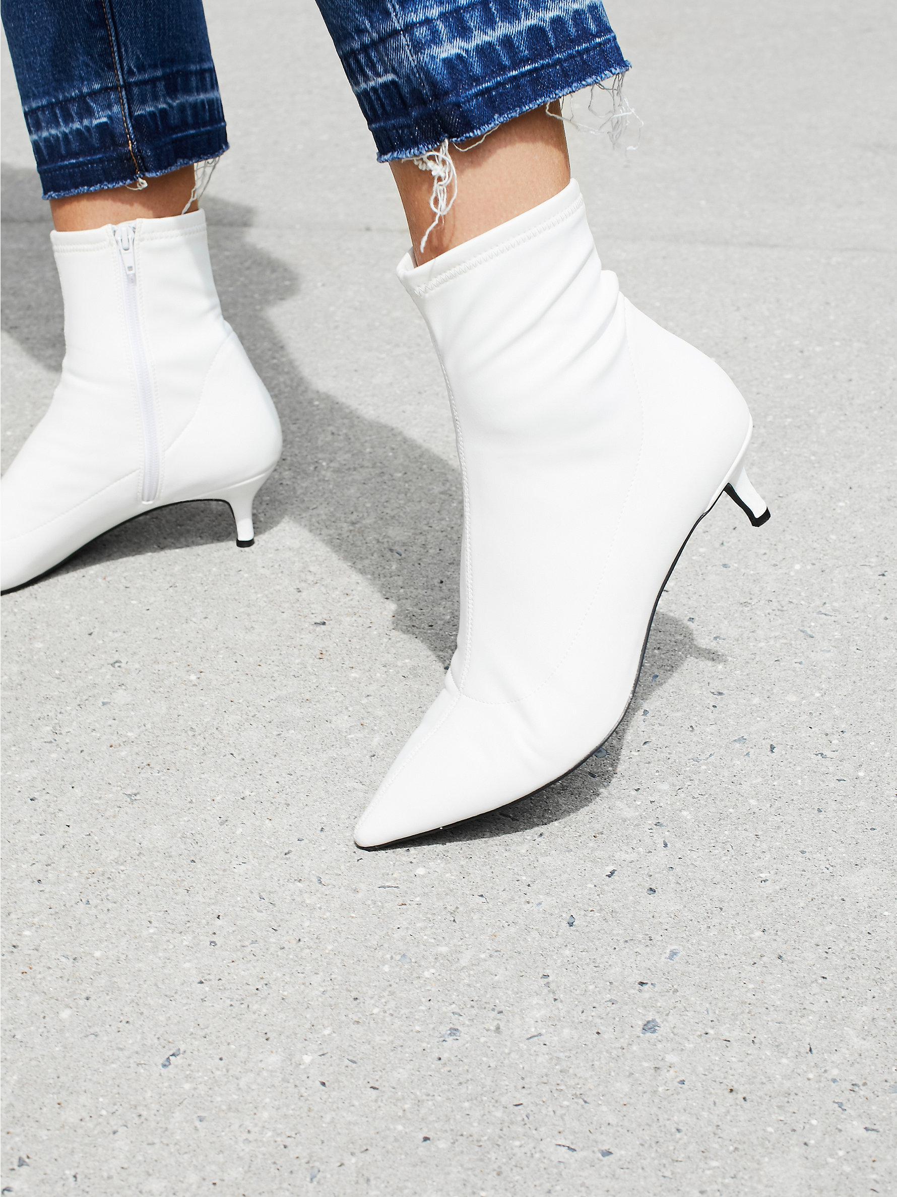9b1deaaedb Free People Marilyn Kitten Heel Boot in White - Lyst