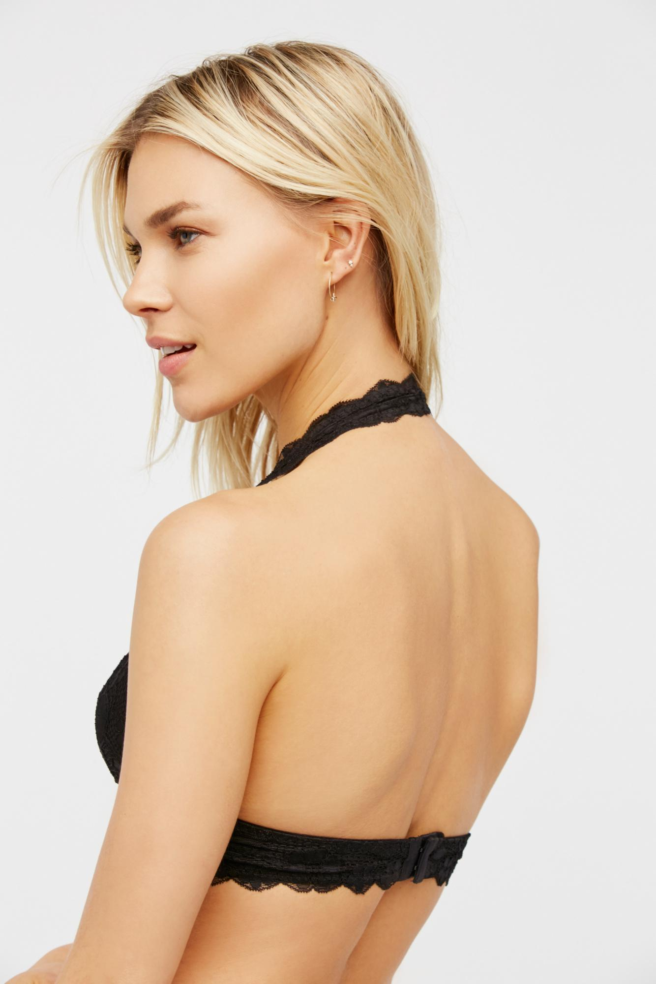 3d72cd047a4bd Lyst - Free People Galloon Lace Halter Bra By Intimately in Black