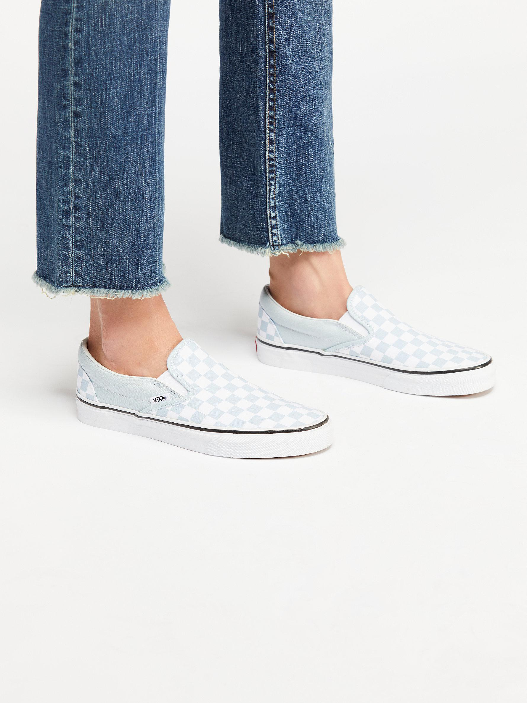 low priced 13028 767d3 Free People Classic Checkered Slip On in Blue - Lyst