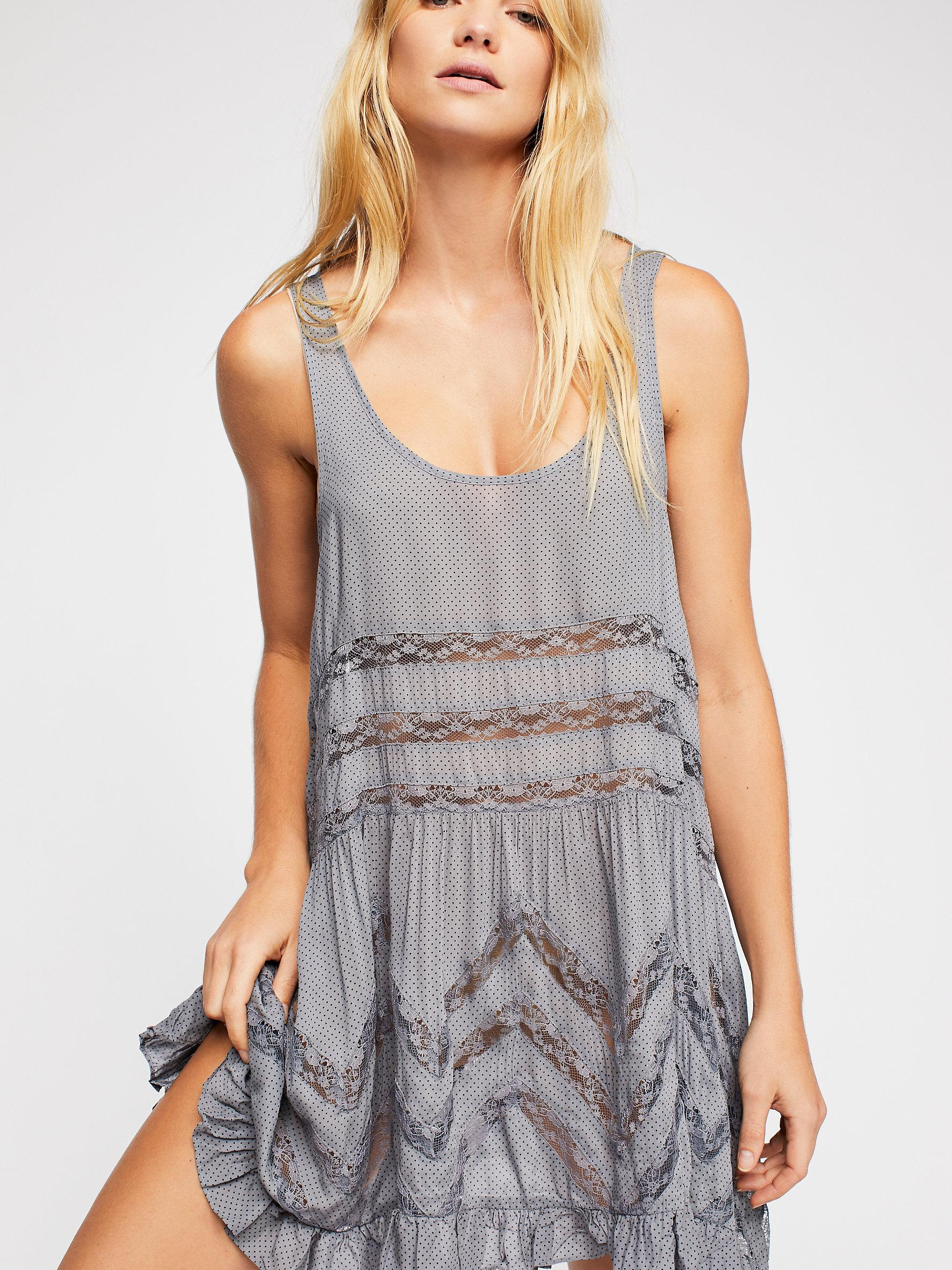 8bc2cfc0c0794 Free People - Gray Voile And Lace Trapeze Slip By Intimately - Lyst. View  fullscreen