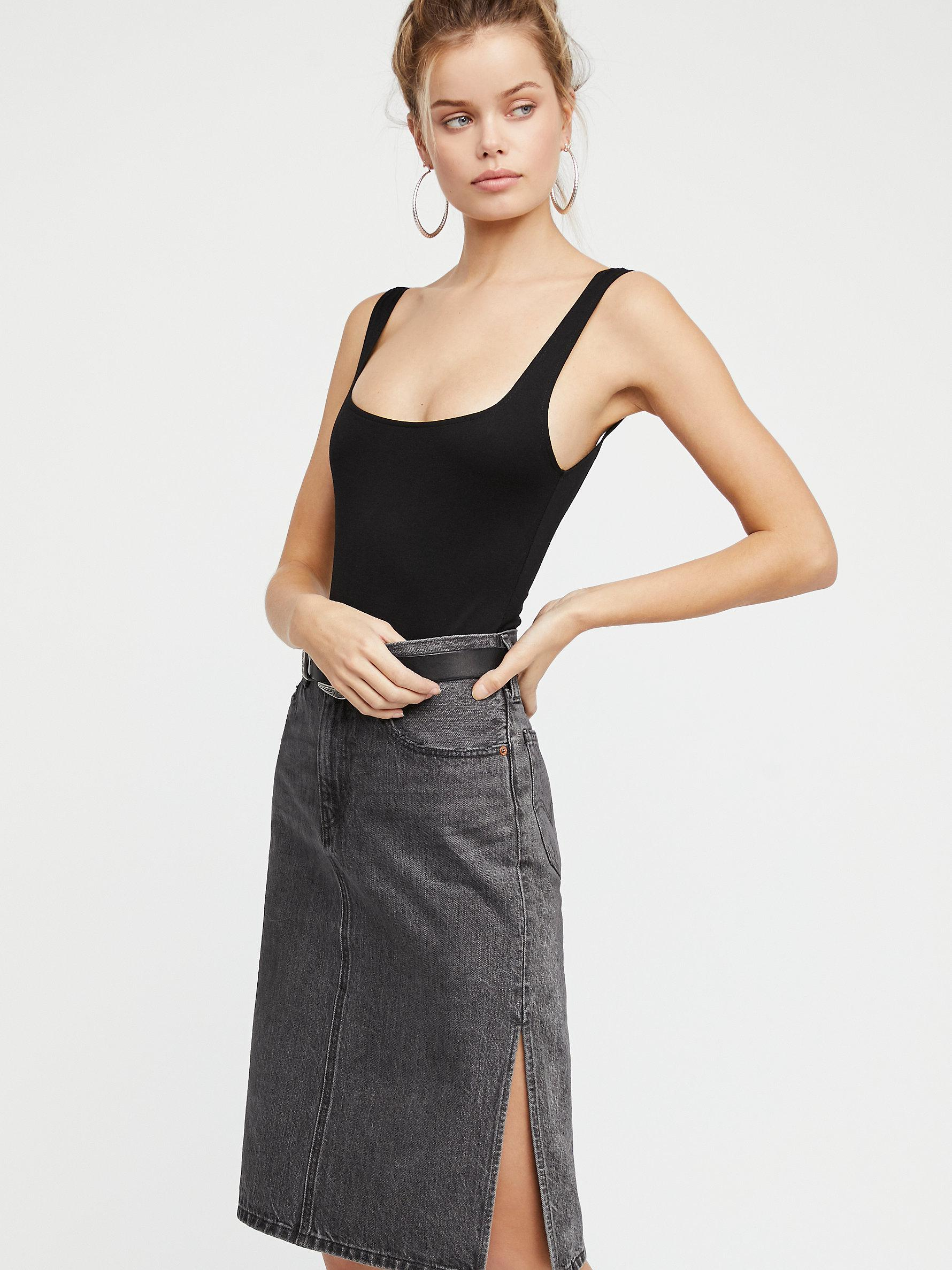 Free People Levi s Side Slit Denim Skirt in Black - Lyst 74fae662b