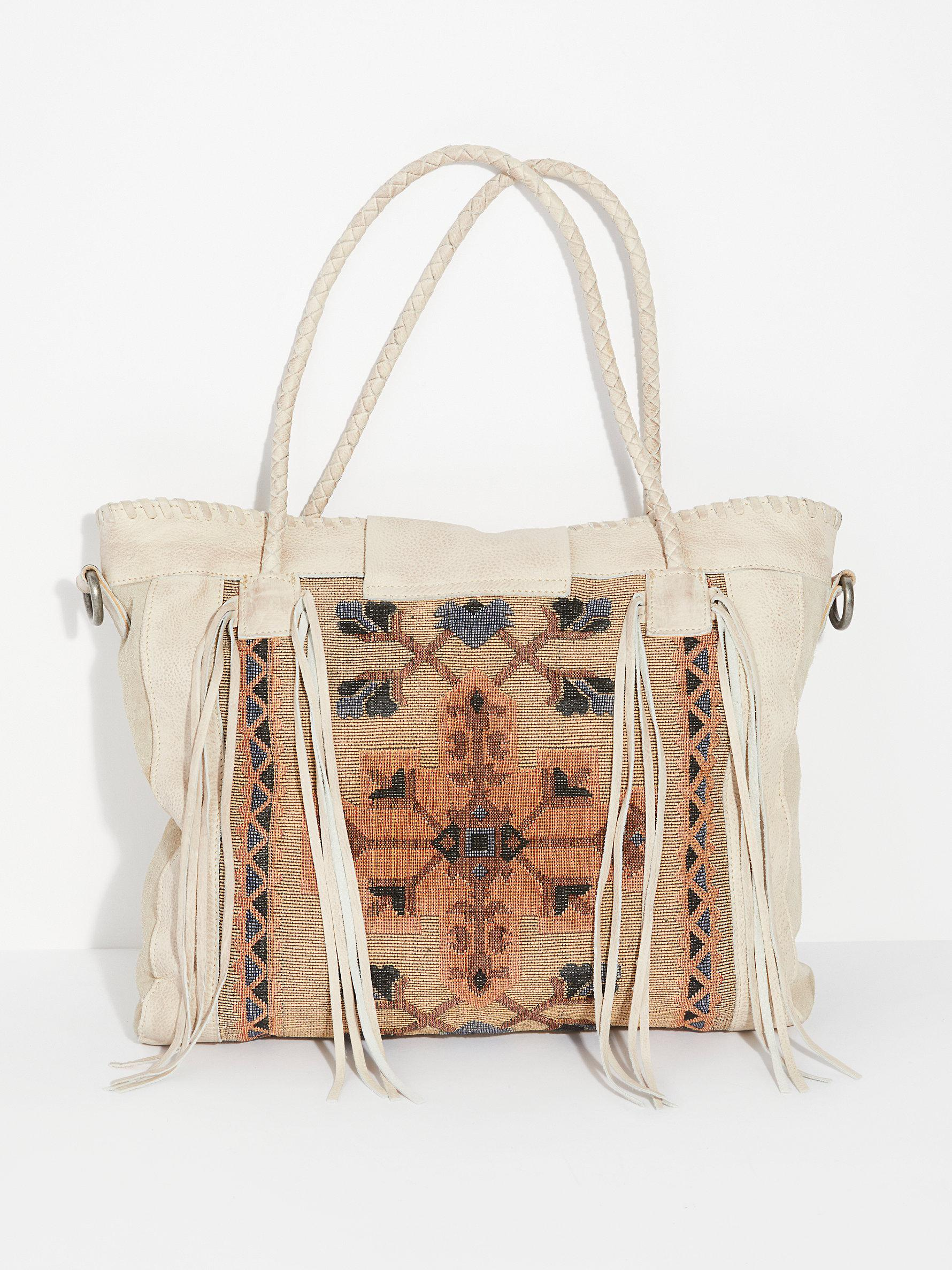 Free People Leather Canyonland Tote in Ivory (White)