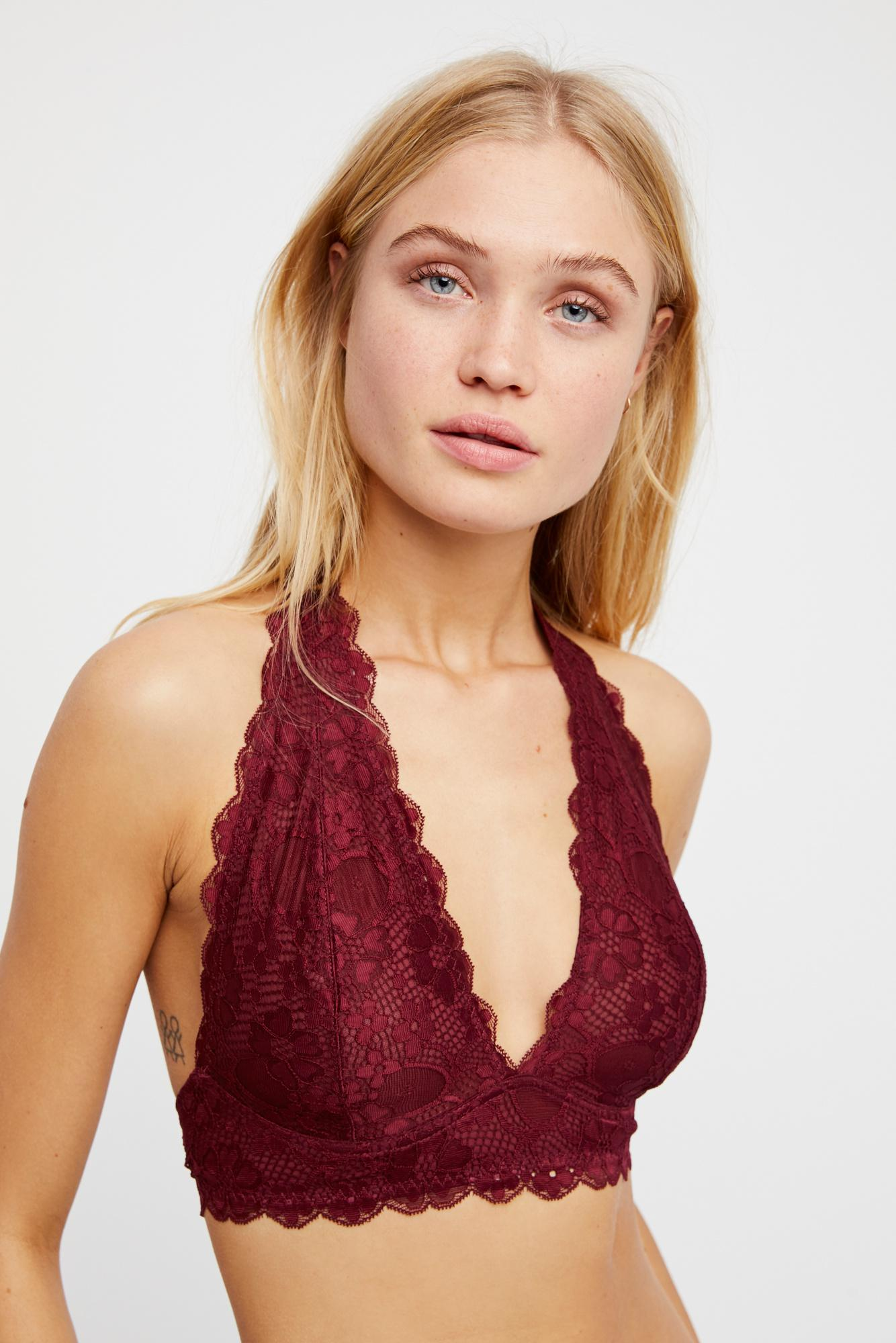 7a65c6bcc6 Lyst - Free People Galloon Lace Halter Bra By Intimately in Red