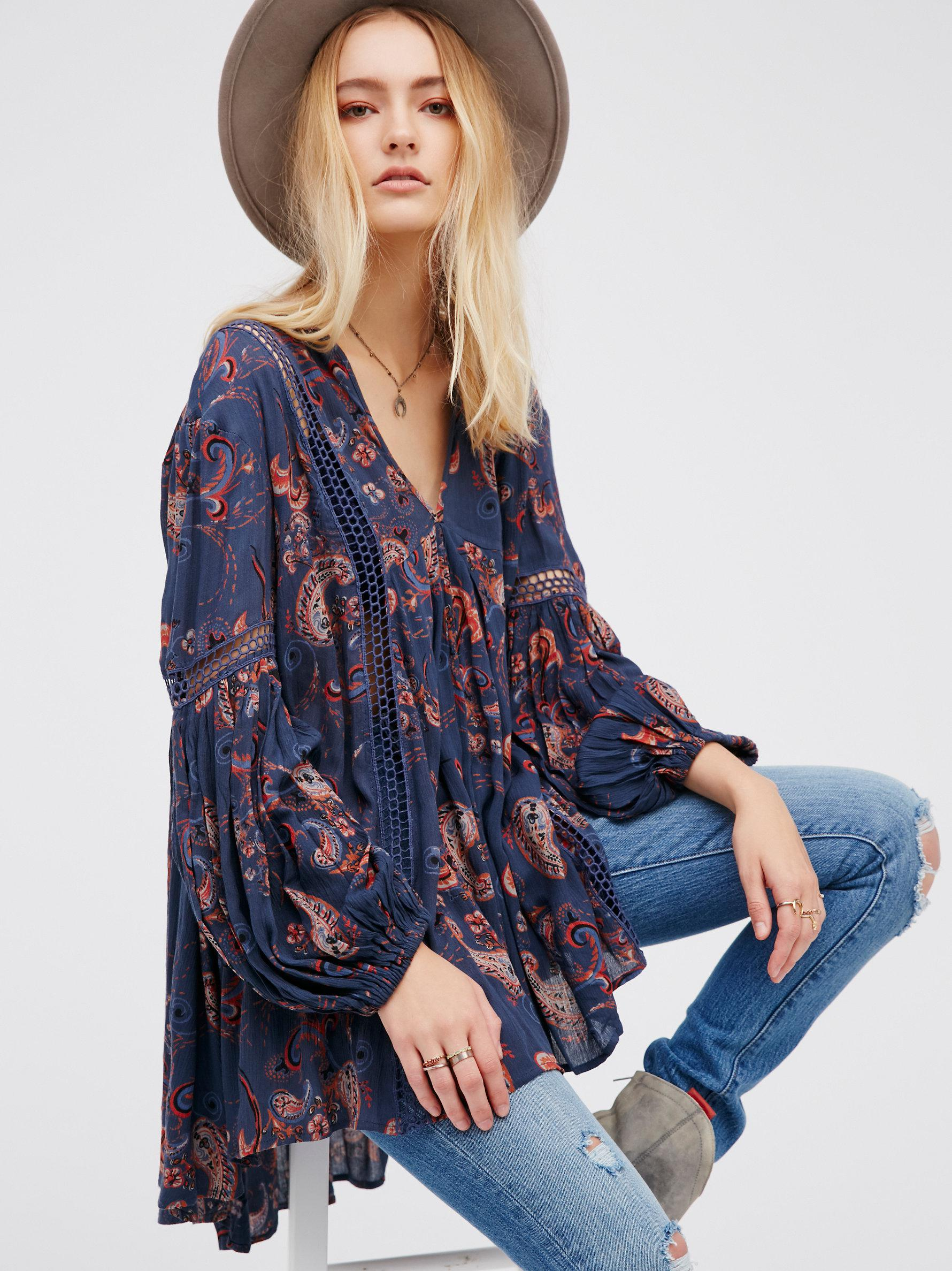 455aa33209e Free People Just The Two Of Us Paisley Printed Tunic in Blue - Lyst