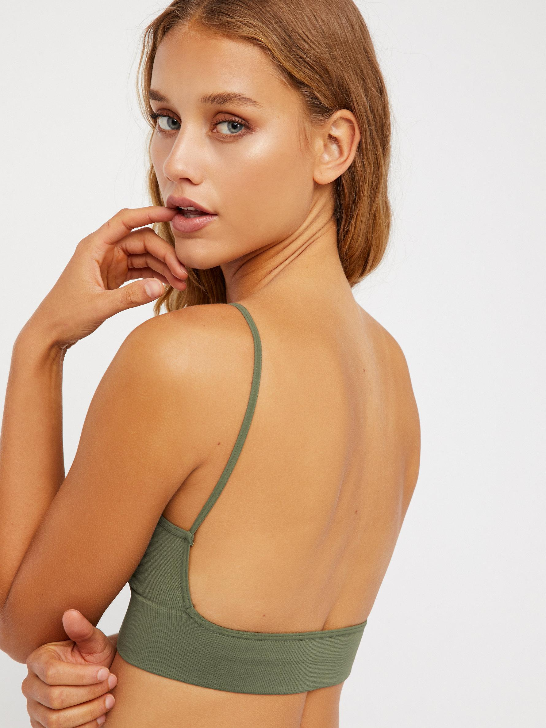 e21ab4f4c6d576 Lyst - Free People Low Back Bralette in Green