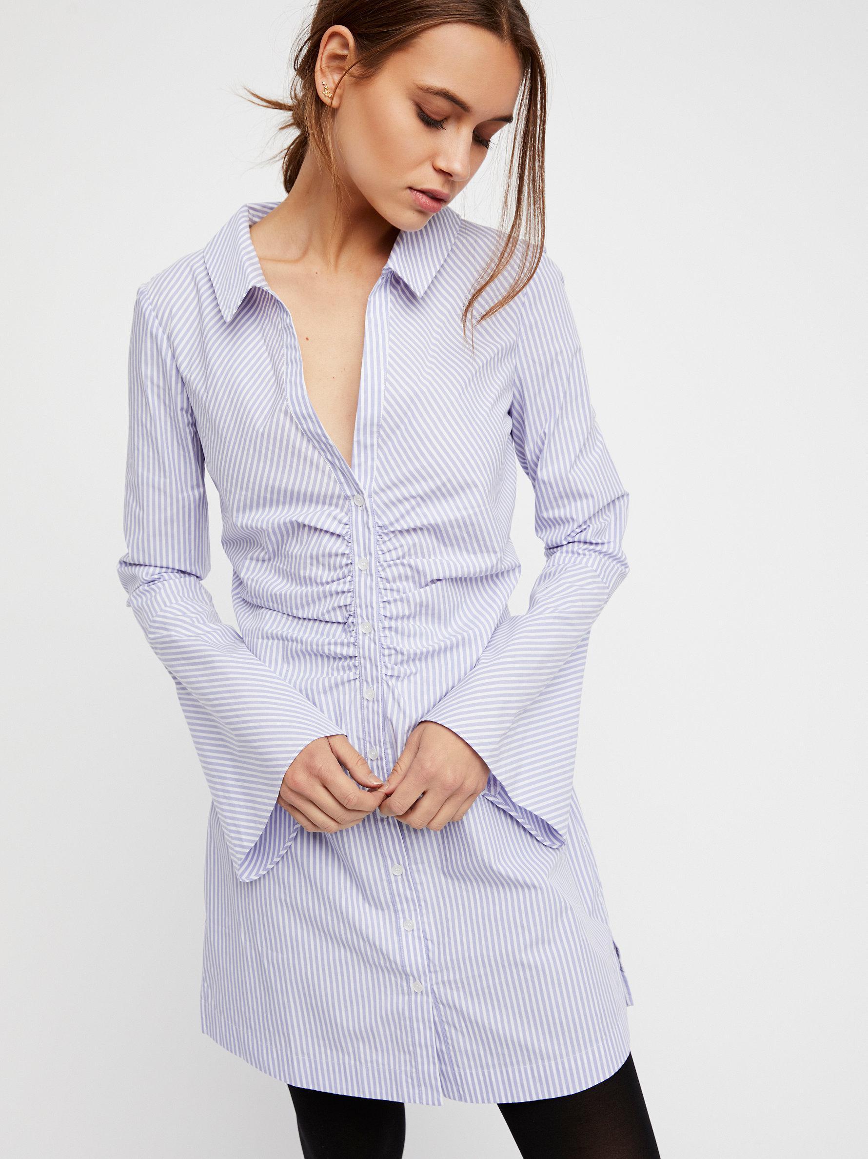 62046c7b421a8 Lyst - Free People Liv Shirt Dress in Blue