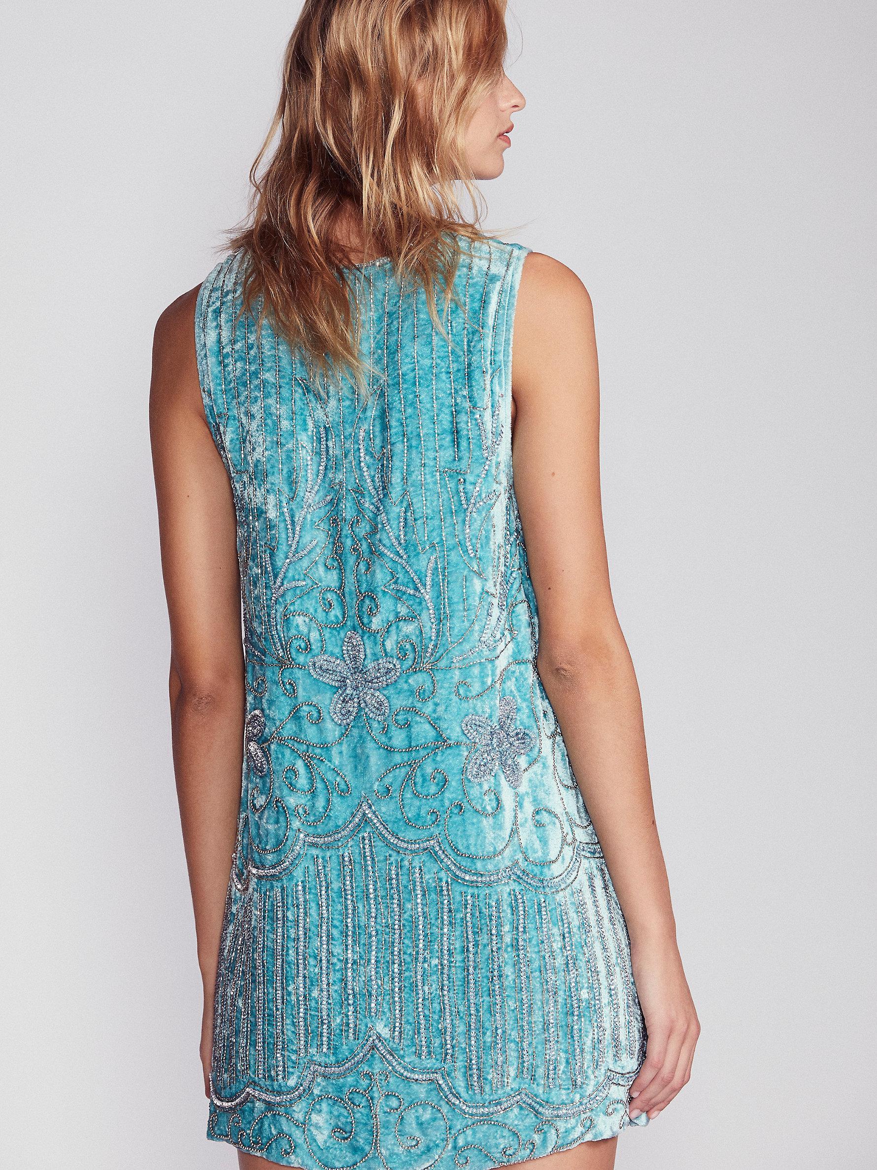 Free People Velvet Elsa Sequin Dress in Blue - Lyst