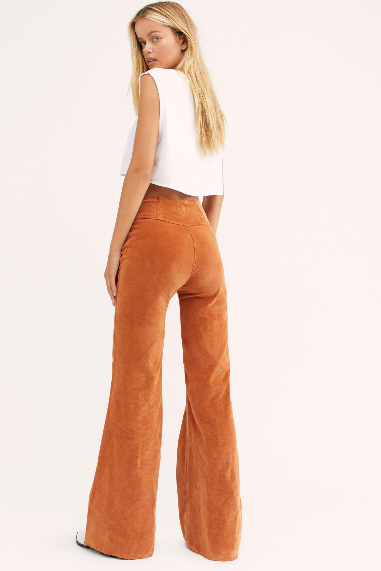 NEW Free People Wild Honey Cord Flare Leg Pants in Myrrh CRVY Jeans