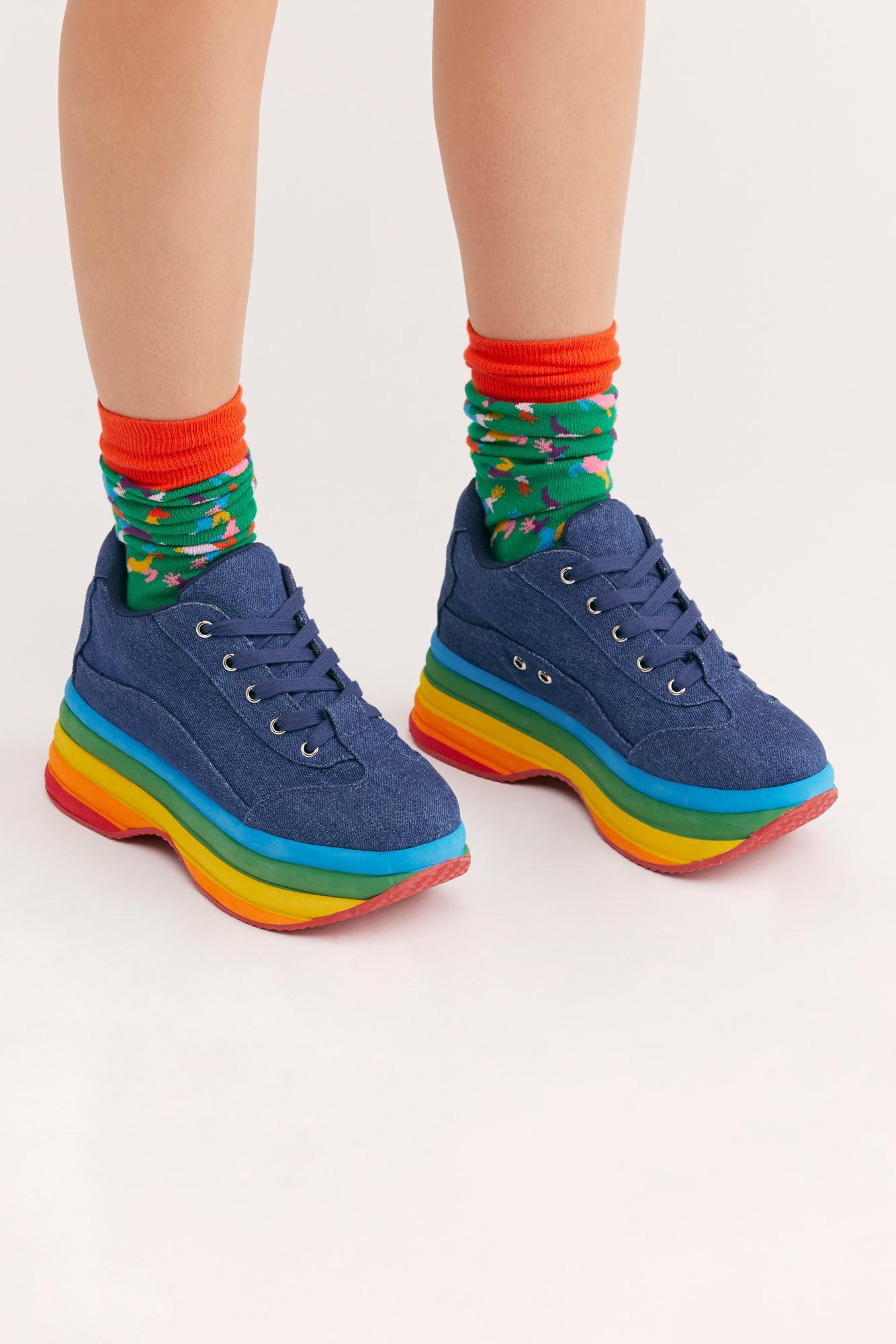 04db0436bd8 Lyst - Free People Sloan Flatform Sneaker By Jeffrey Campbell in Blue