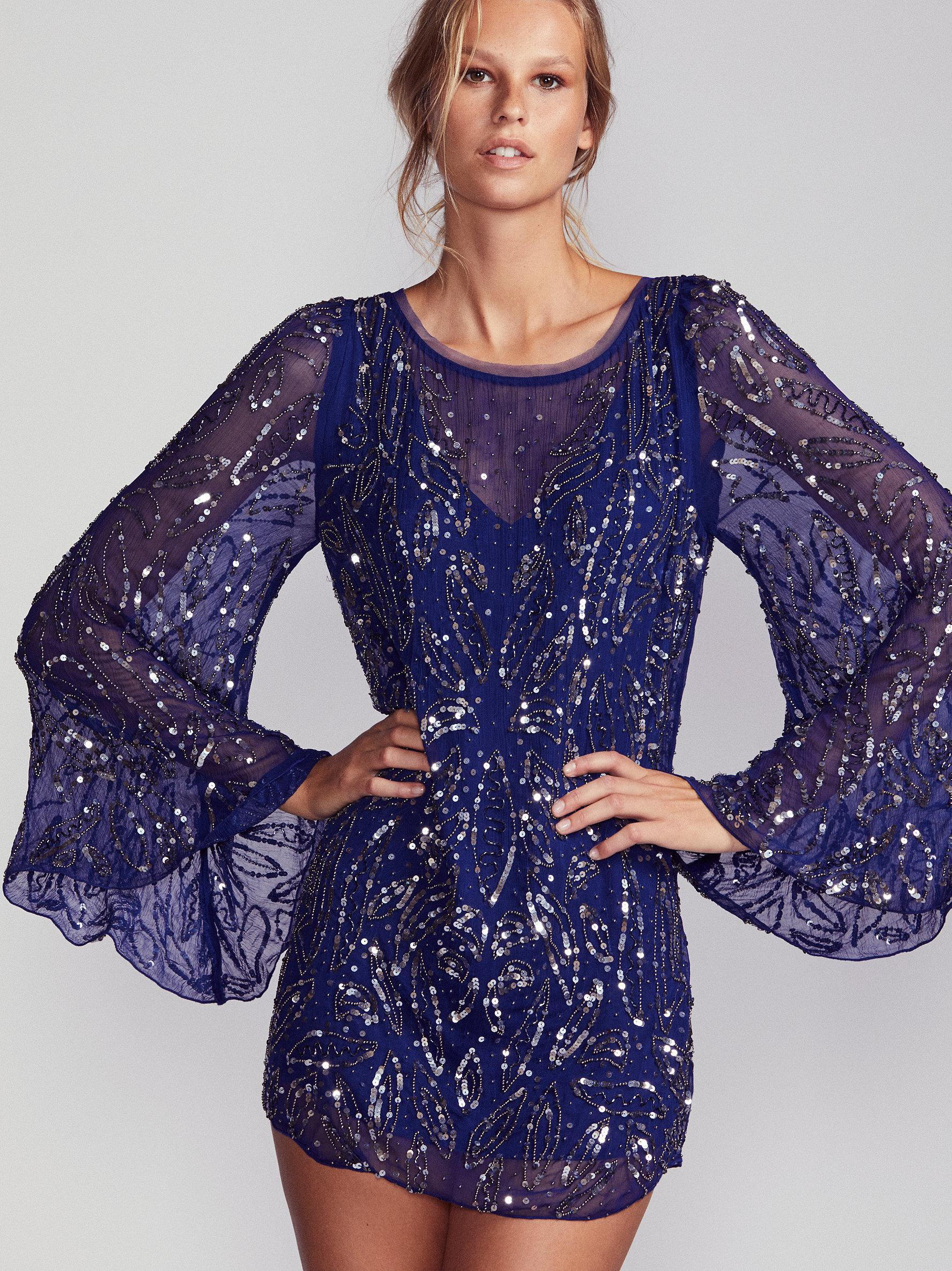 Lyst - Free People Sequin Sparkle Bow Mini Dress in Blue