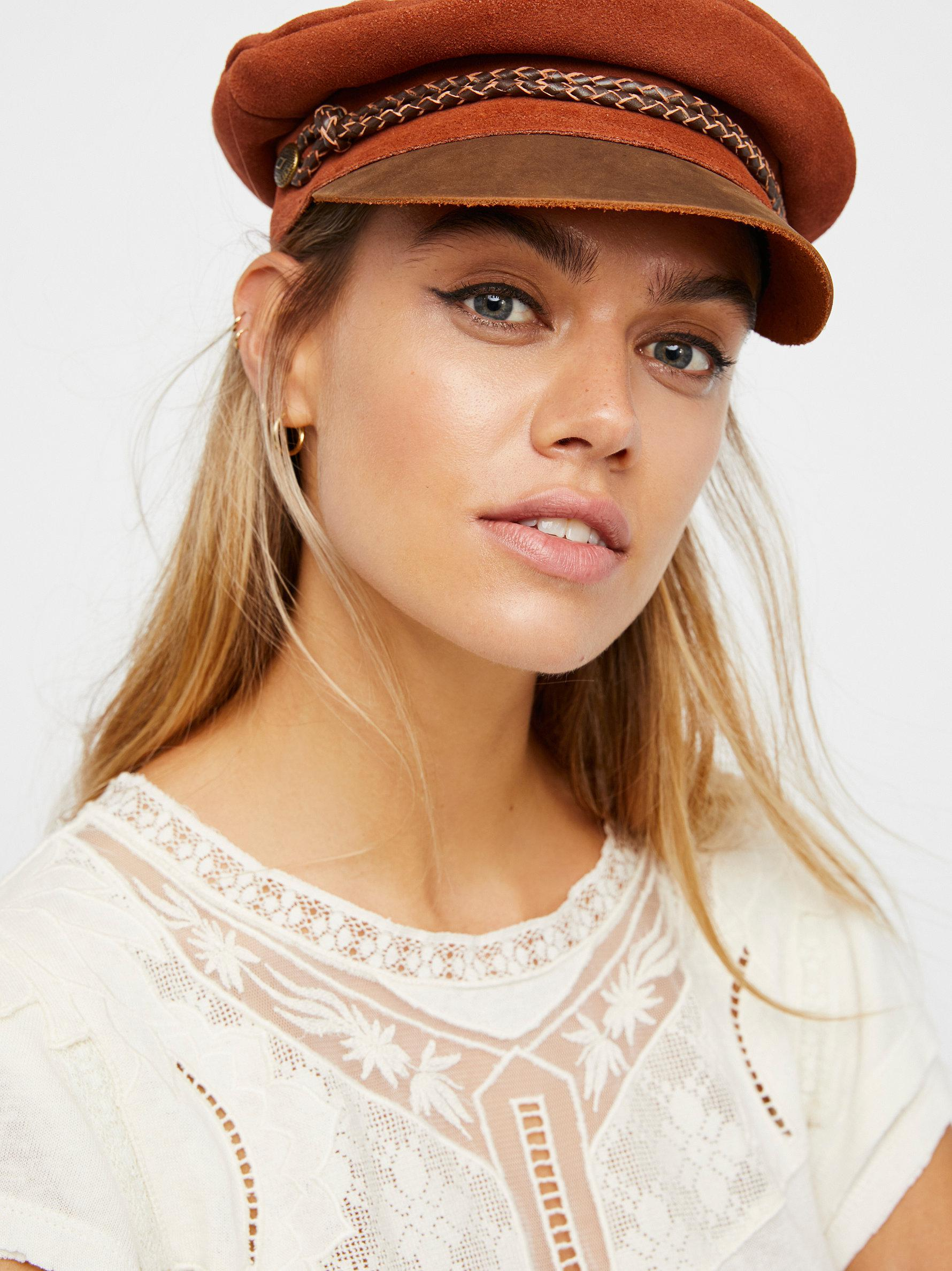 Lyst - Free People Kayla Leather Lieutenant Hat in Brown b3b03db68e18