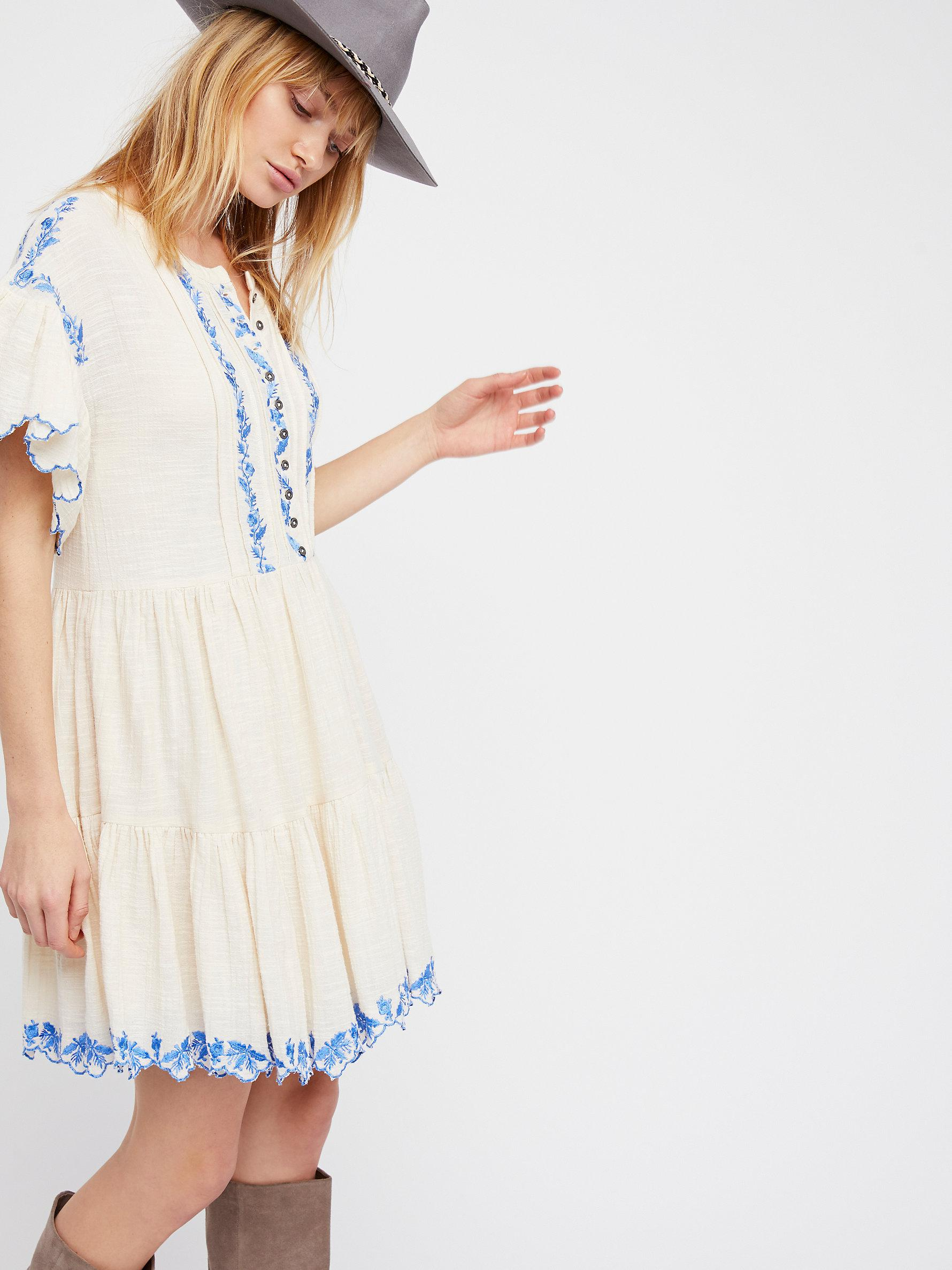 5a1dbf8270 Lyst - Free People Santiago Embroidered Mini Dress in White