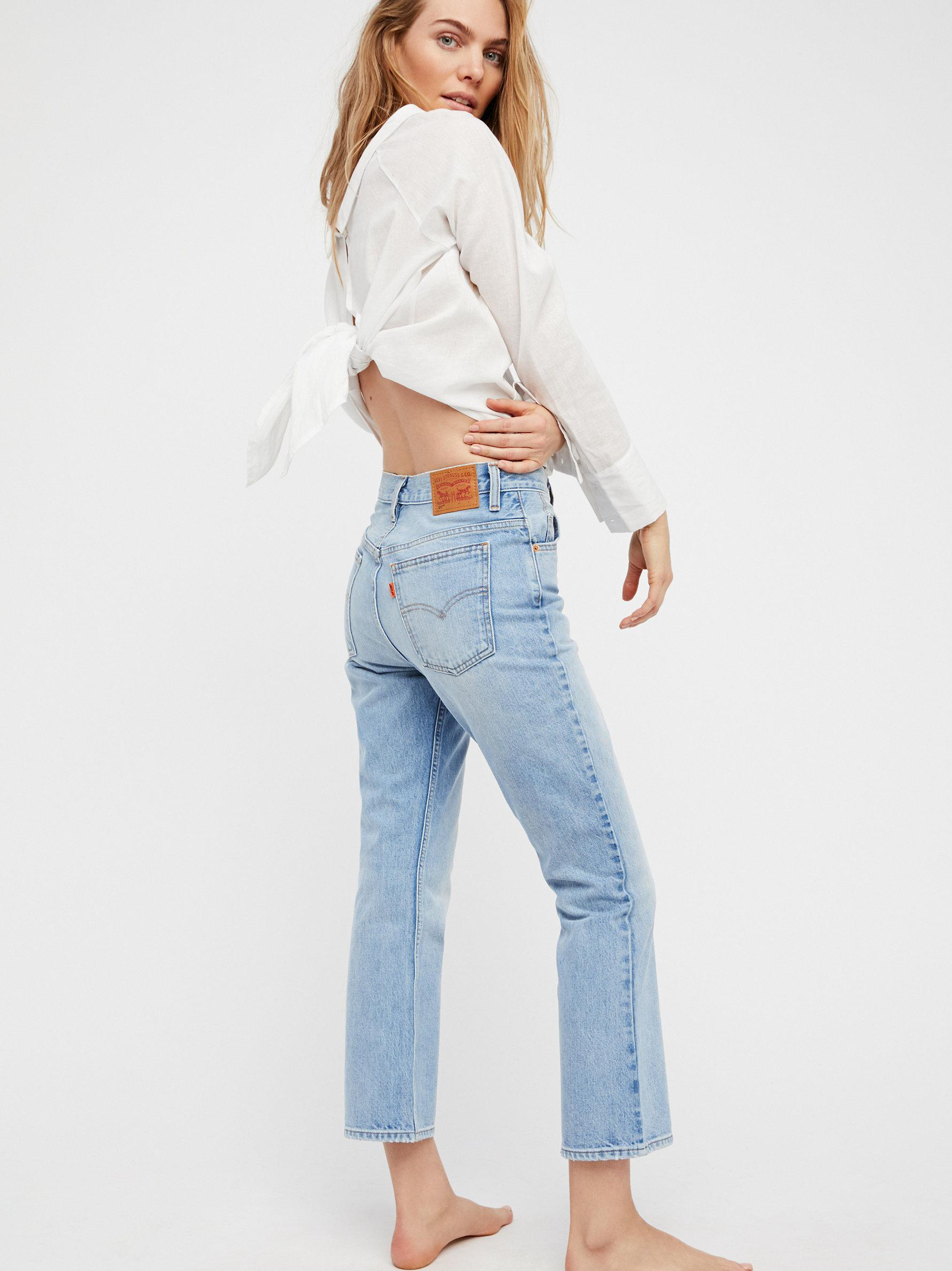 1116928a15b Free People Levi's 517 Cropped Boot Cut Jeans in Blue - Lyst