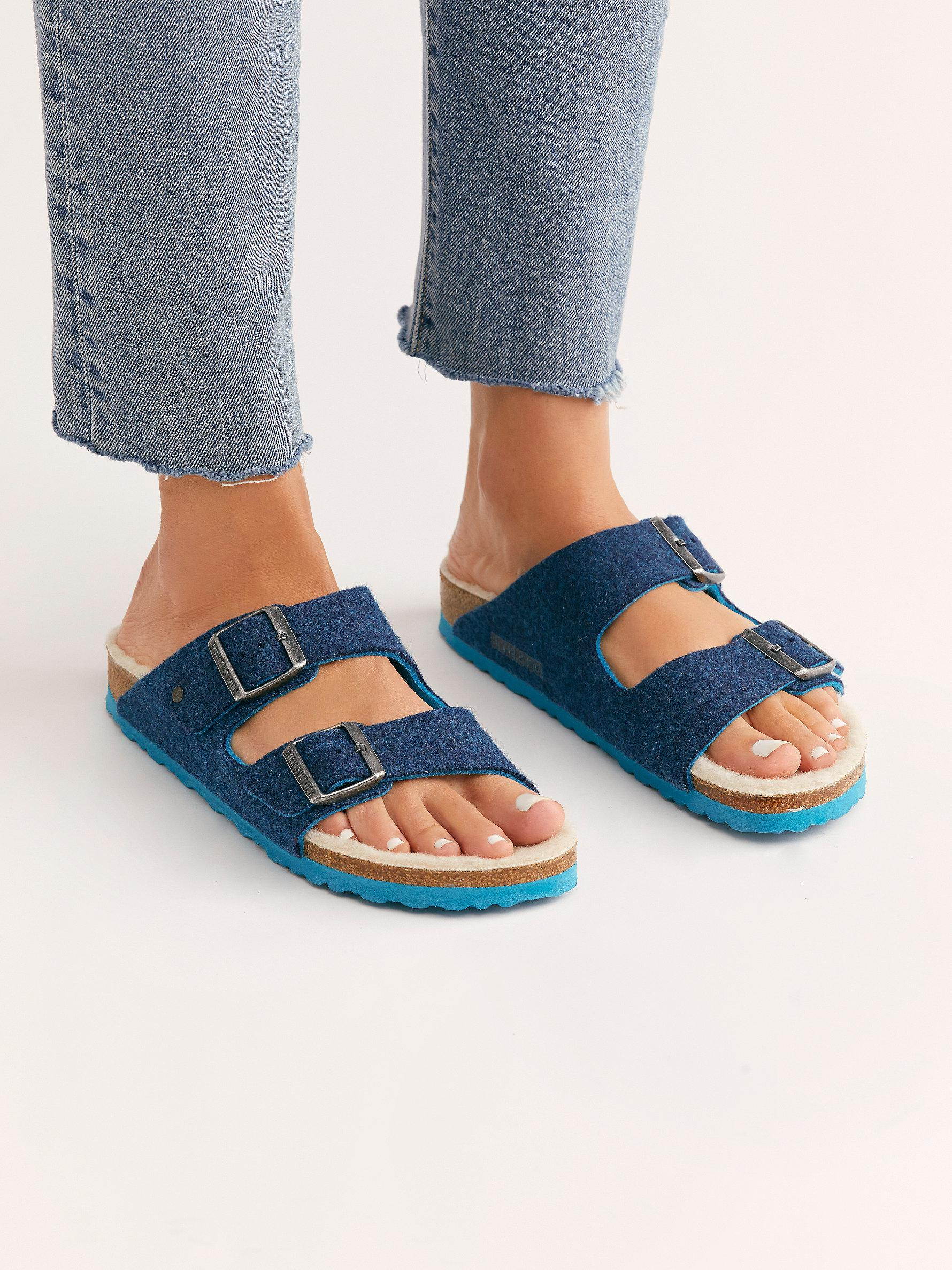 113d4a8f248cf Free People Arizona Happy Lamb Birkenstocks in Blue - Lyst