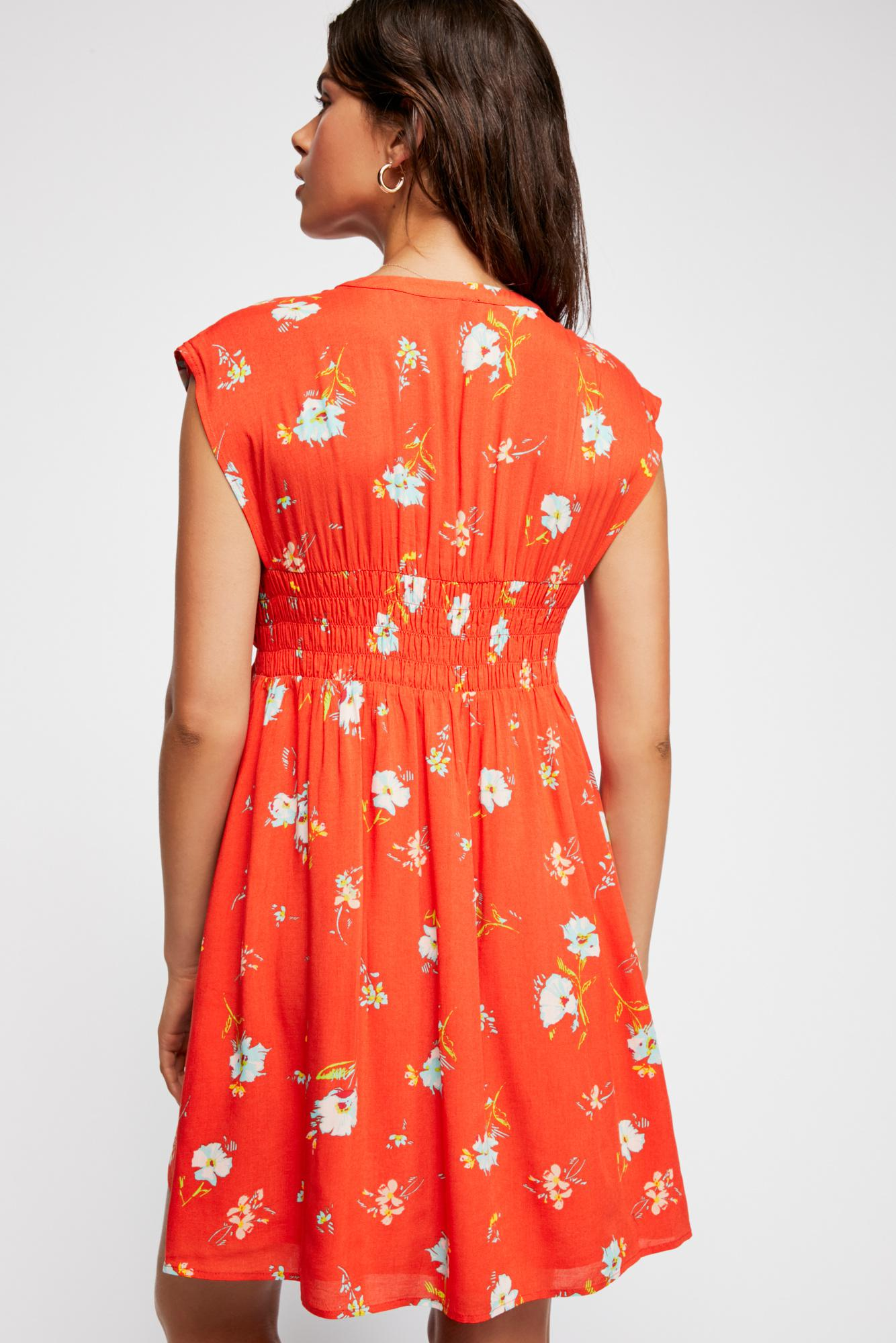2efeabc75 Lyst - Free People Greatest Day Smocked Mini Dress in Red