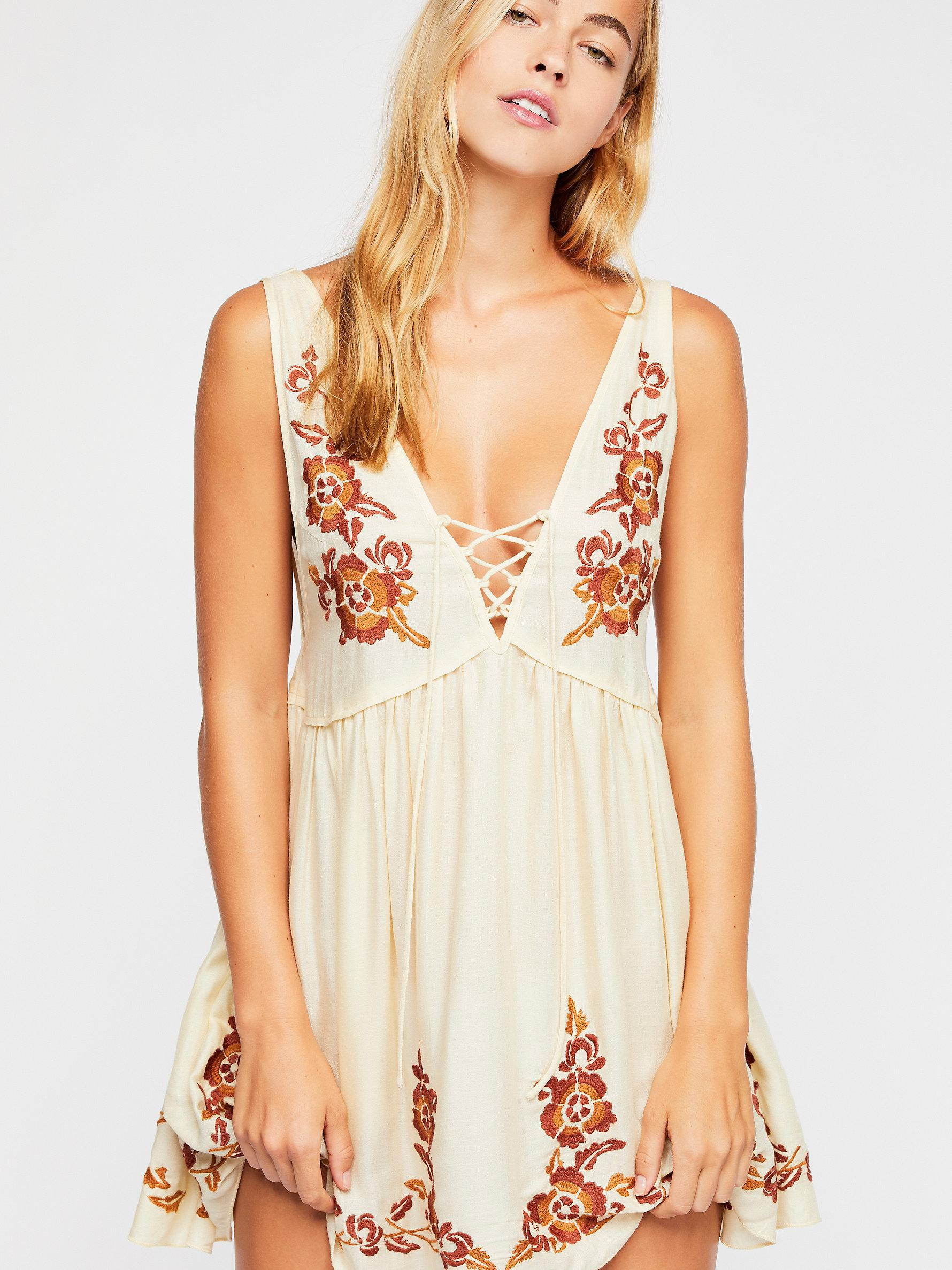 b288e7ea6d7 Lyst - Free People Embroidered Aida Slip in Natural