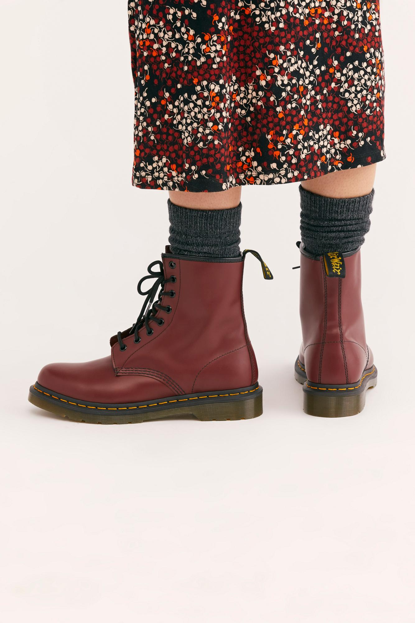 437f4419358 Women's Red Dr. Martens 1460 Smooth Lace-up Boot