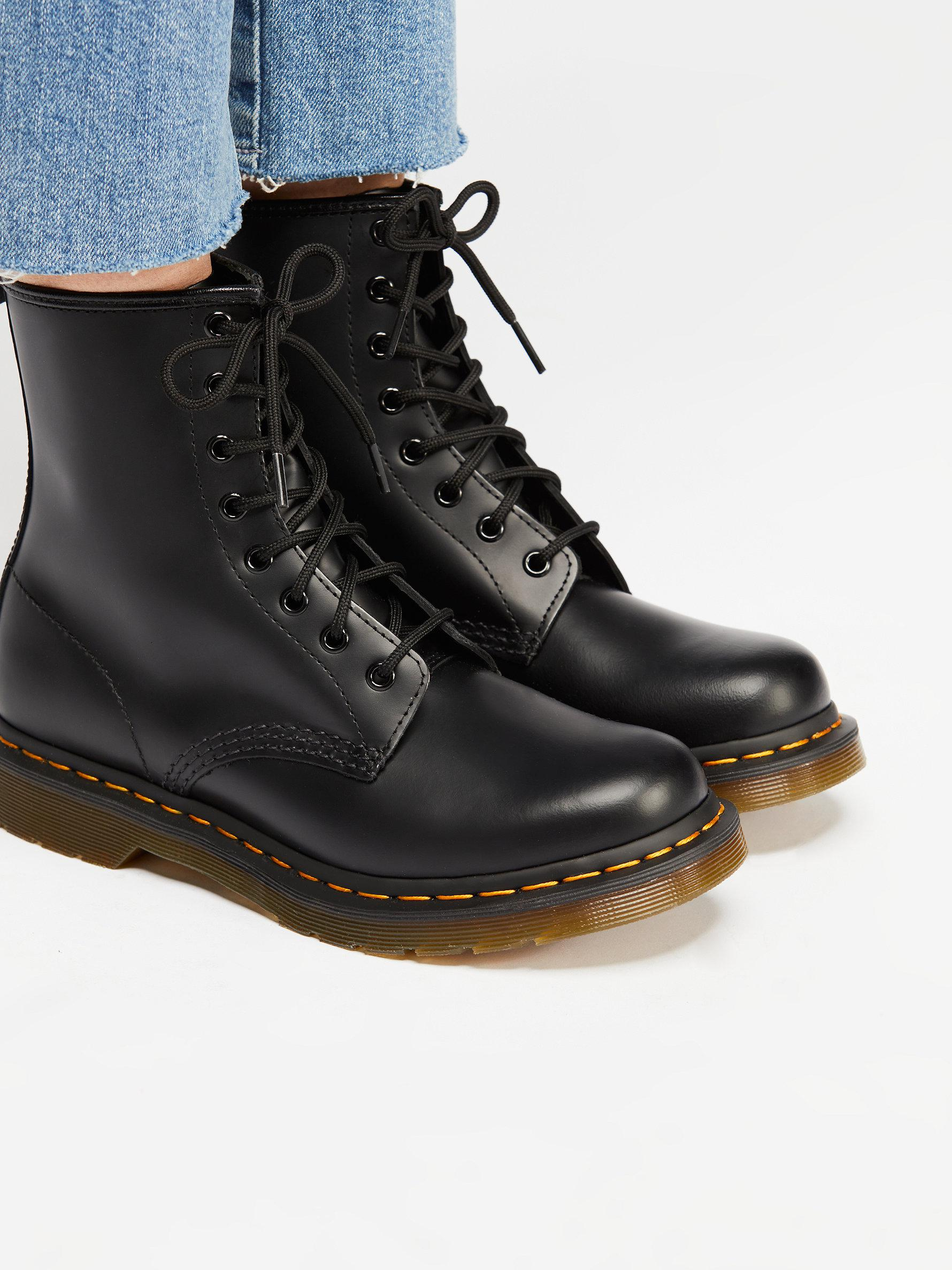 Free People Rubber Dr. Martens 1460 Lace-up Boot in Black