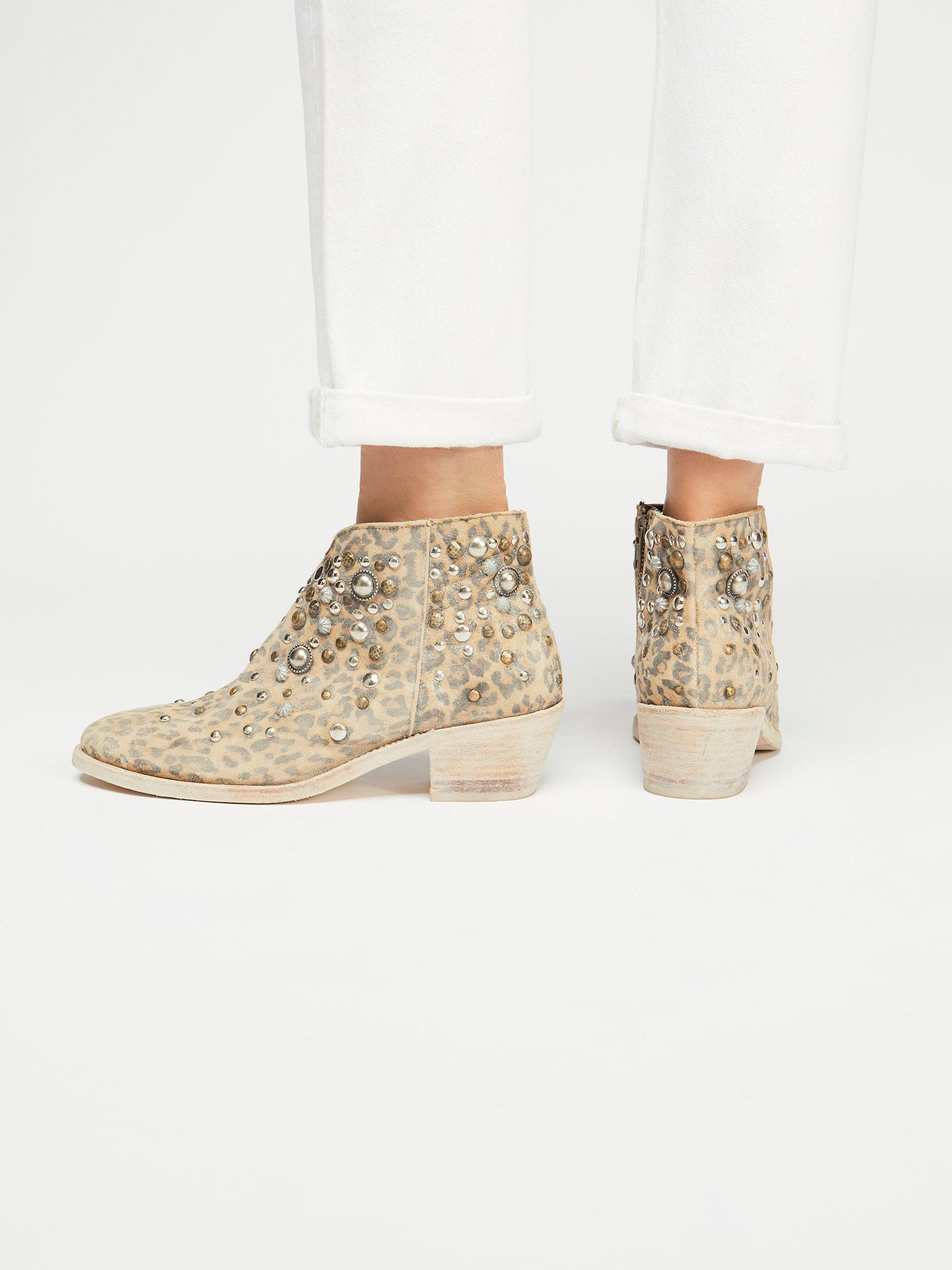 Free People Leather Vista Stud Boot in Leopard (Natural)
