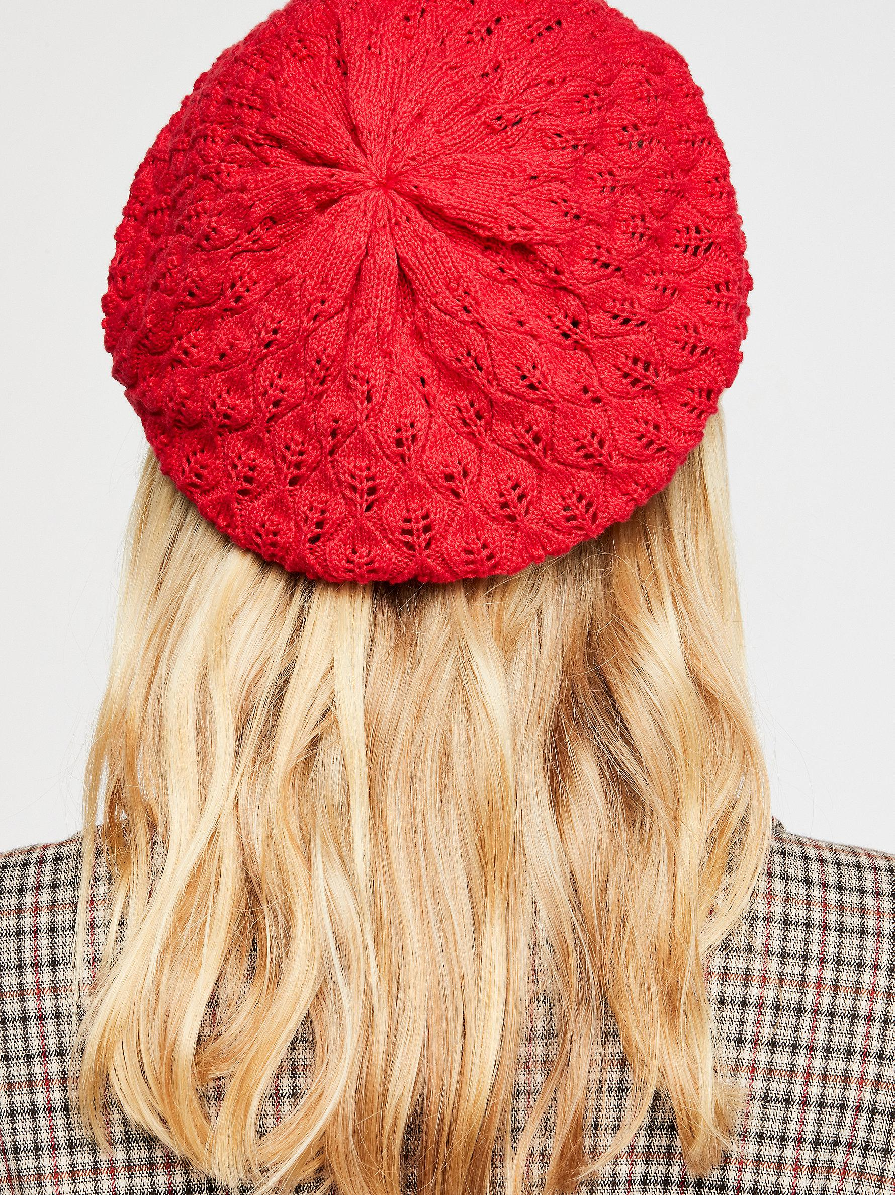 Free People Amelia Crochet Knit Beret in Red - Lyst be515001c5e
