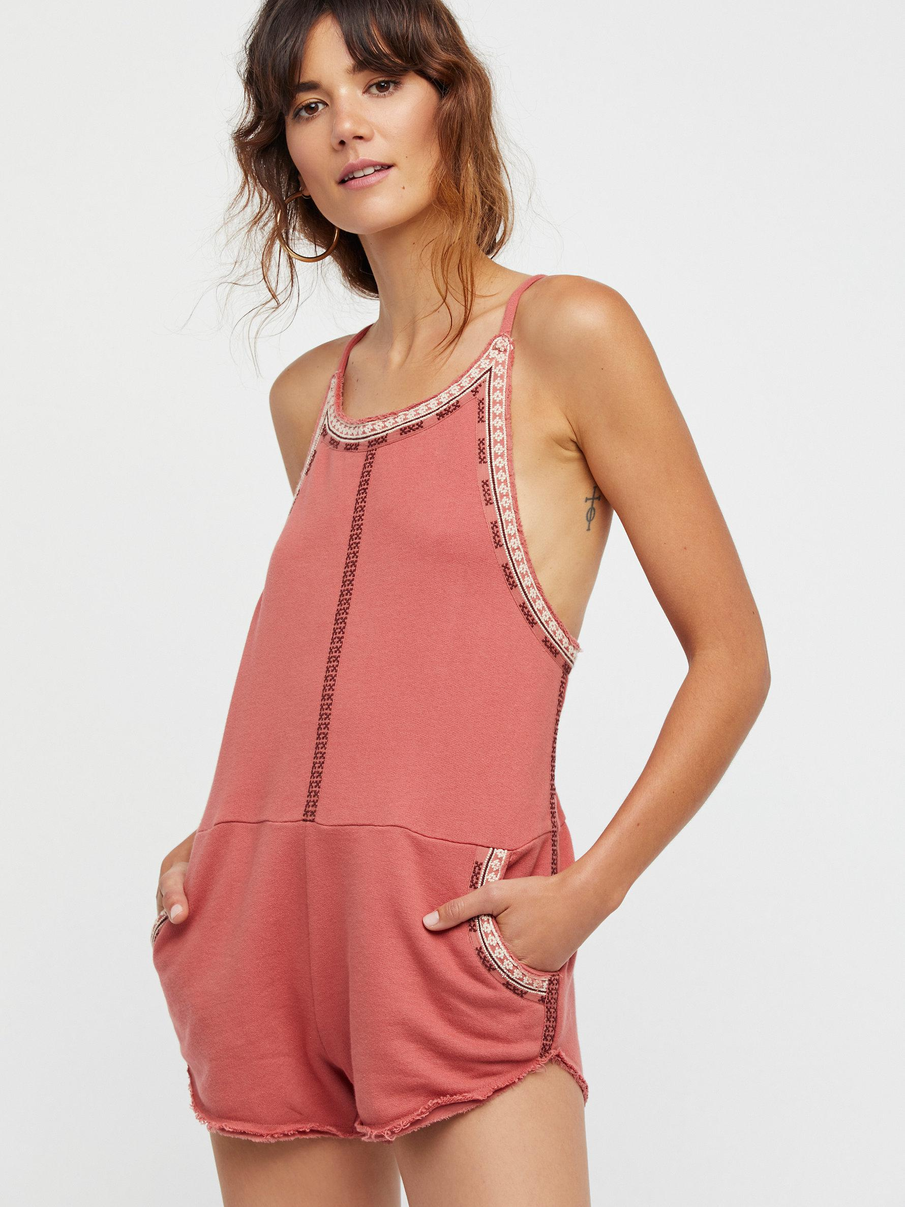 7e0905bfd6e Lyst - Free People Fp One Lou Playsuit in Red