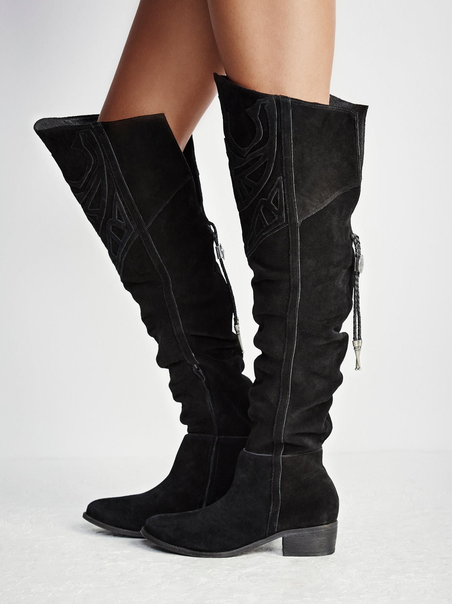 Free people Bolo Western Over The Knee Boot in Black | Lyst