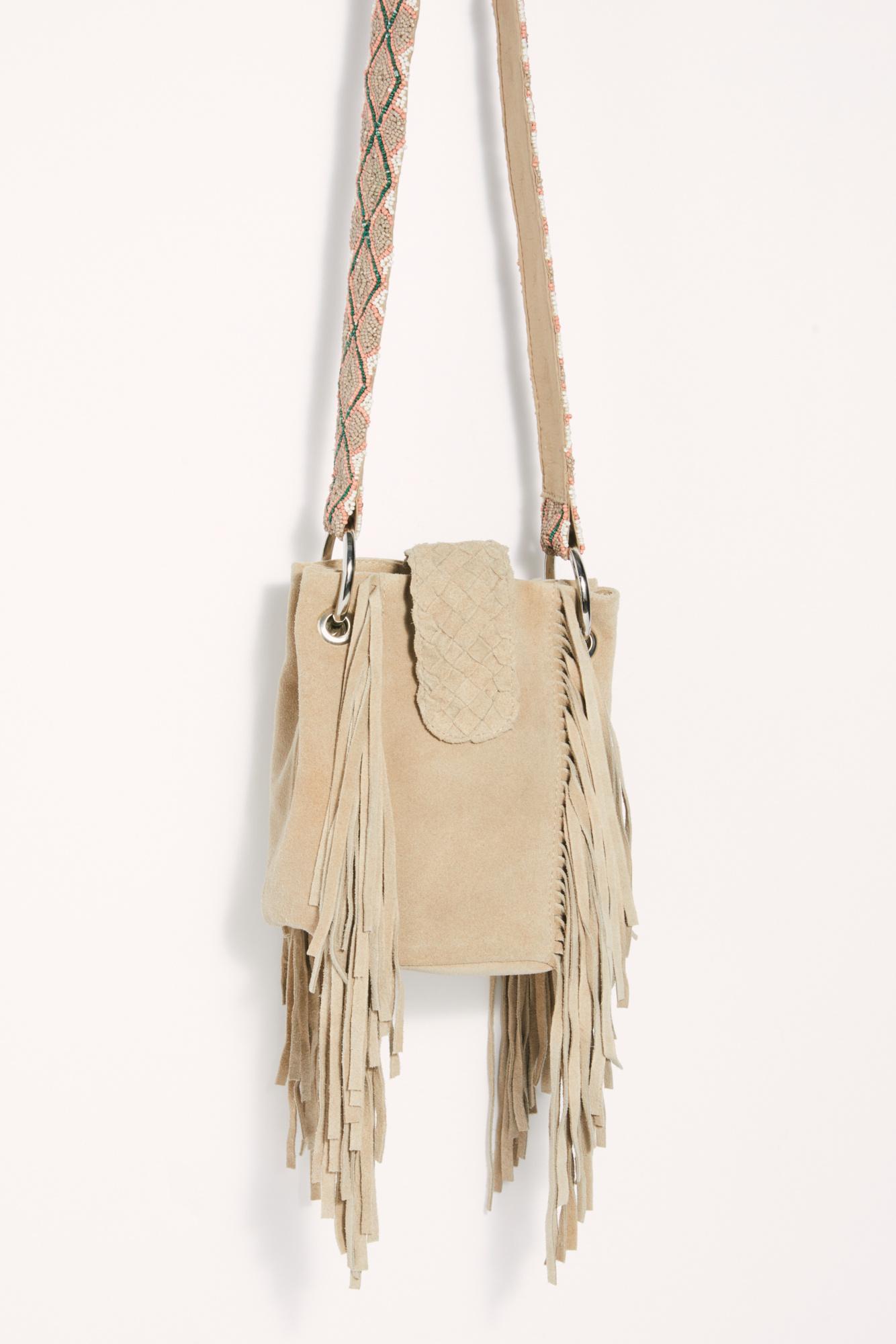 Free People Suede Love It Beaded Bucket Bag In Cream Natural Lyst