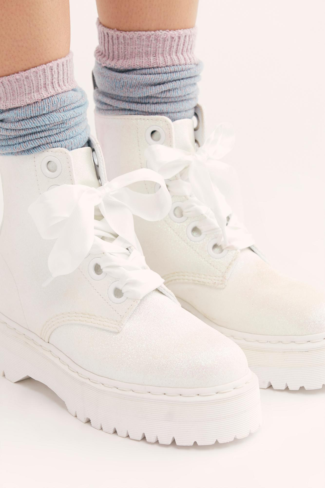 739f30388d5 Free People Dr. Martens Molly Glitter 6 Eye Boot in White - Lyst