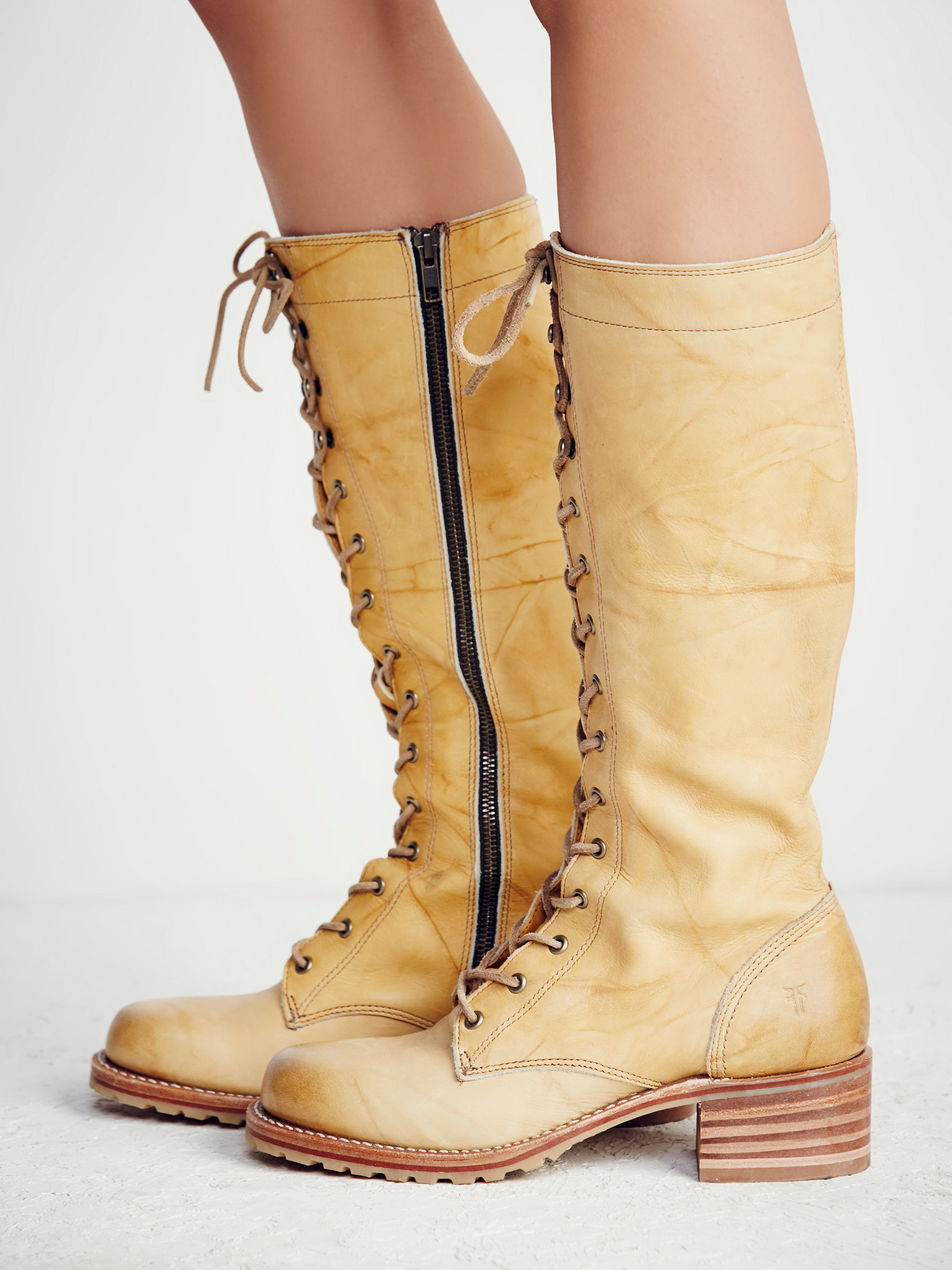 Lyst Free People Campus Lace Up Boot In Natural