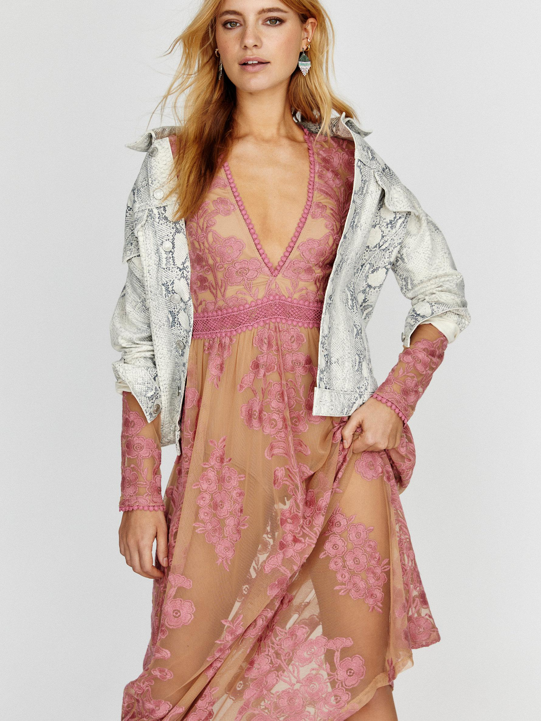 Free People Synthetic Lets Move On Maxi Dress By Fp Beach