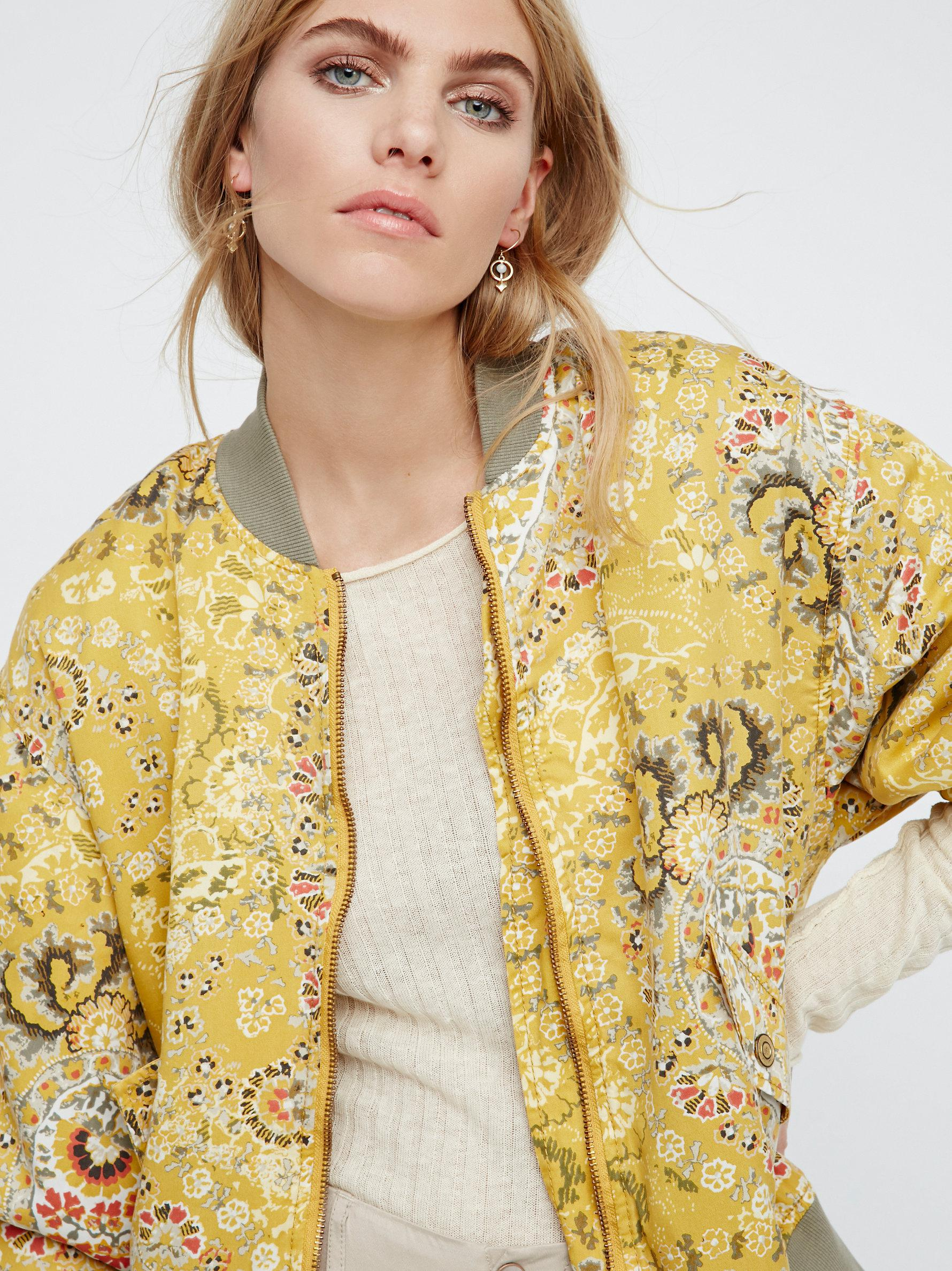7a9d39989 Free People Multicolor Daytrip Printed Bomber Jacket