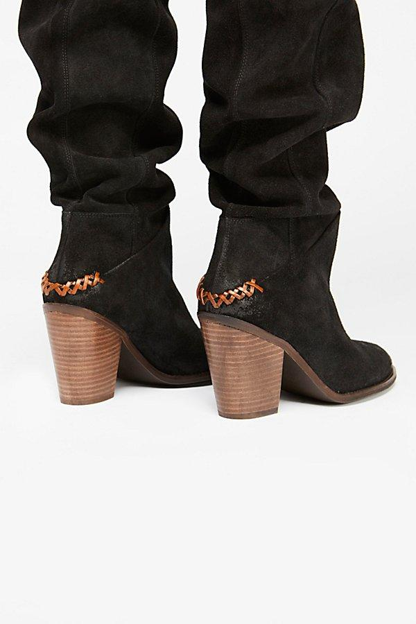 Free People Suede Montgomery Slouch Boot in Black Suede (Black)