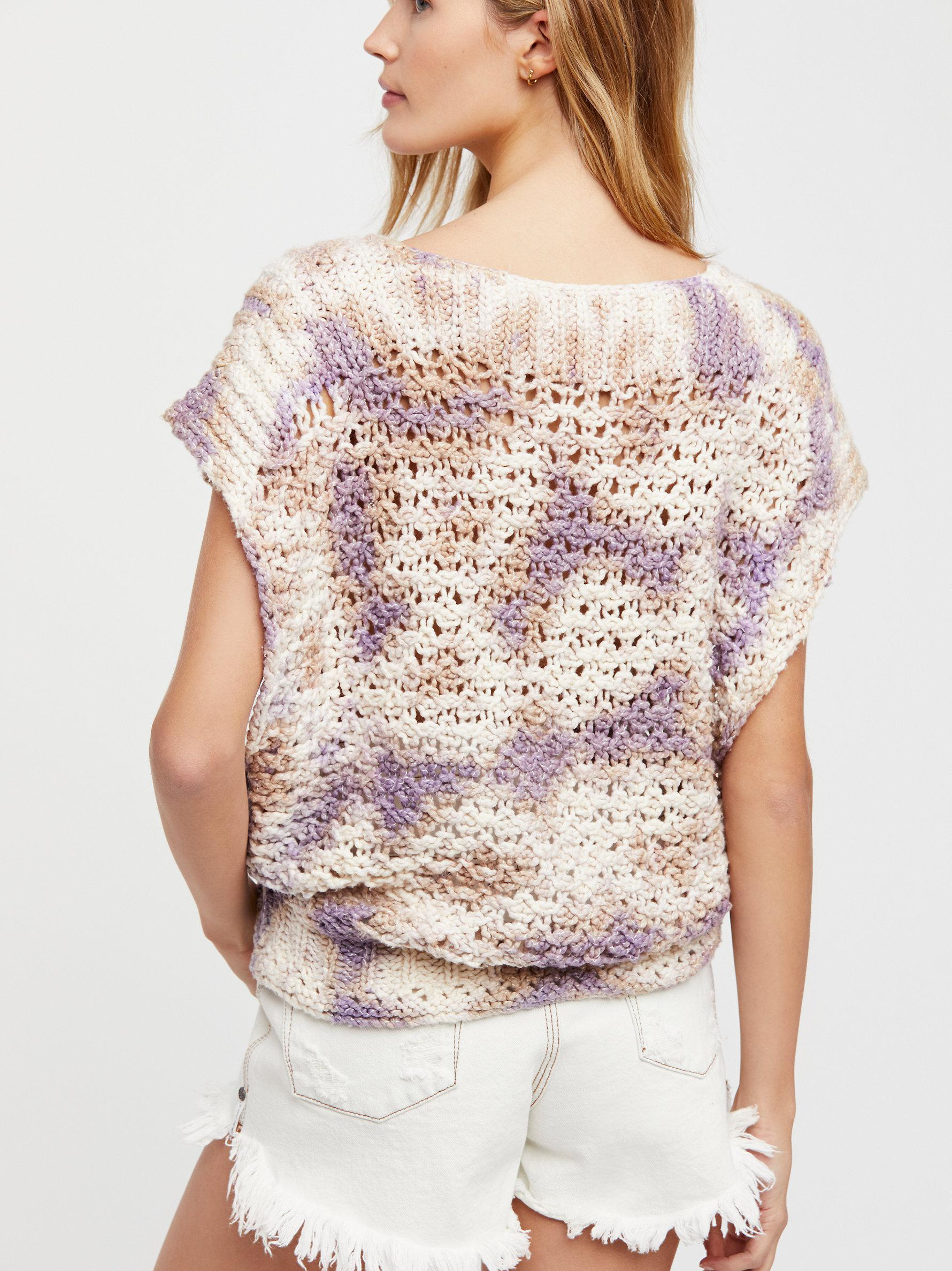 Free People Womens Diamond in The Rough Relaxed Short Sleeves Sweater Vest