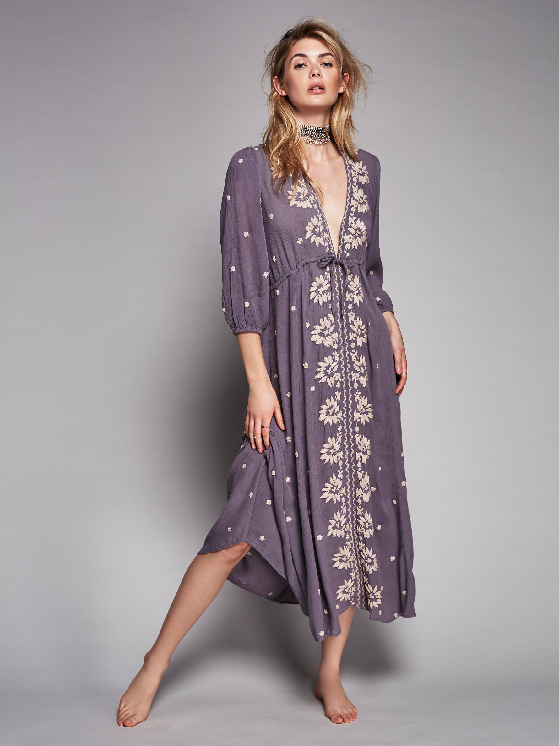 Free People Embroidered Fable Dress In Purple Lyst